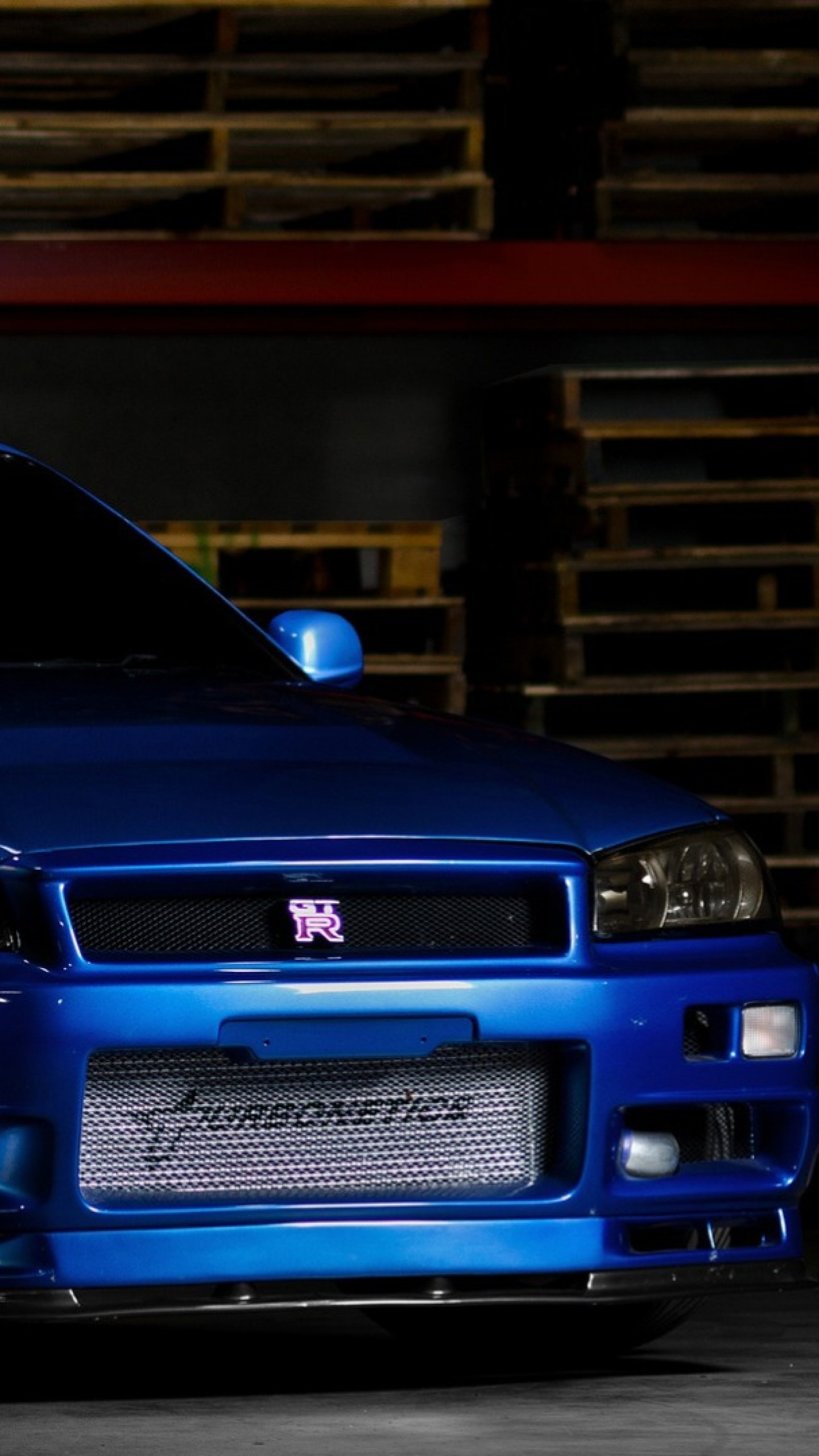 Preview wallpaper nissan skyline, gtr, r34, blue, front view 1440×2560