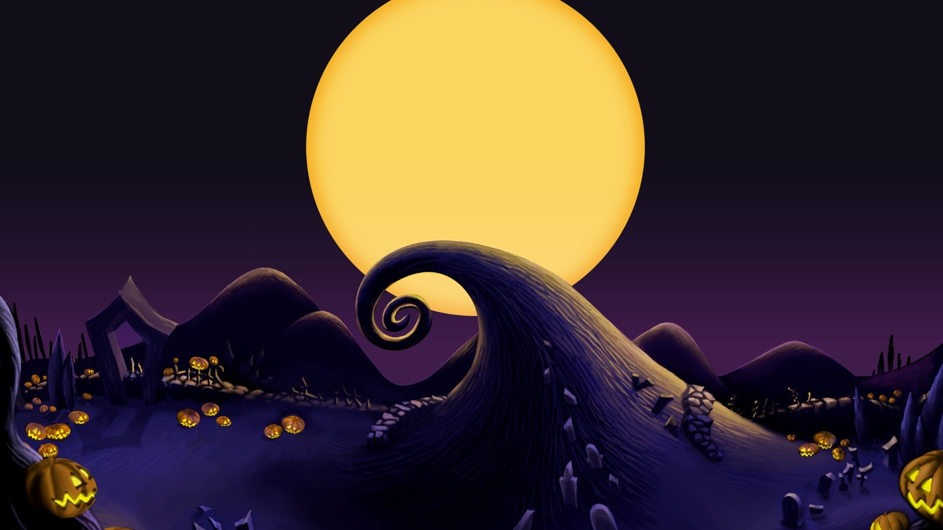 The Nightmare Before Christmas Landscape desktop PC and .