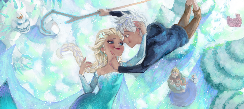 … Frozen Elsa and Jack fan art by Angju