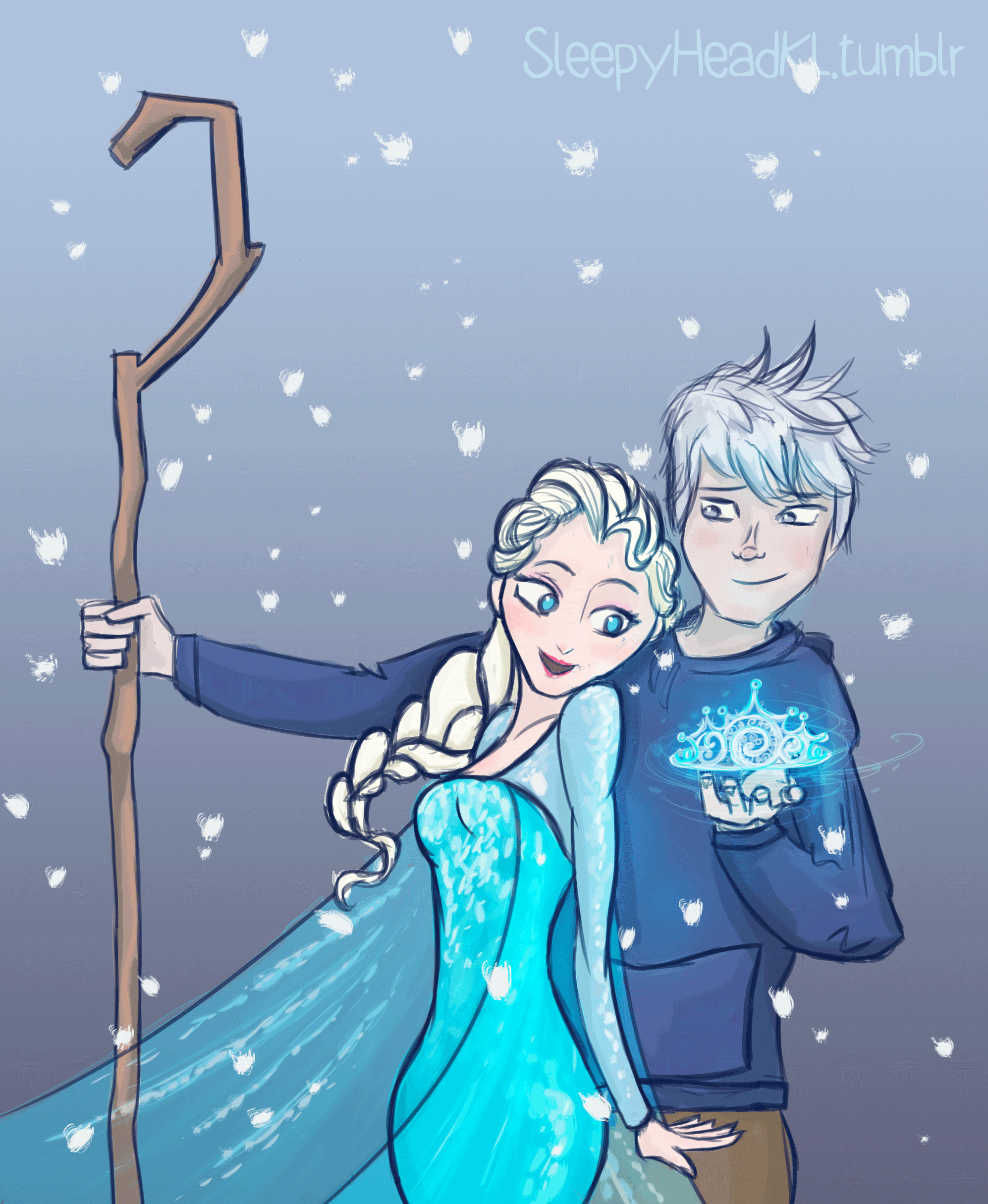 A Crown for His Queen – Elsa and Jack Frost by SleepyHeadKL …