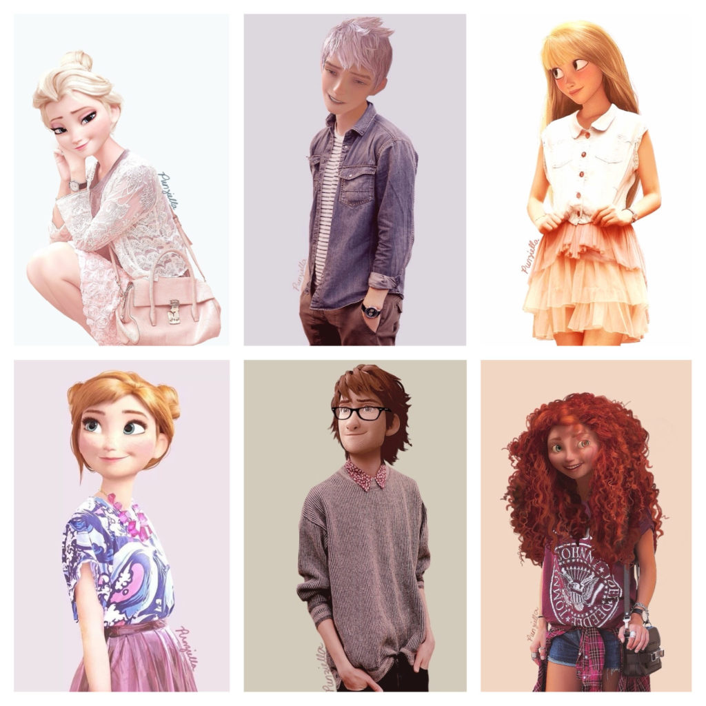 Hipster versions of 3D animated cartoon characters. Elsa and Anna from  Frozen, Jack Frost