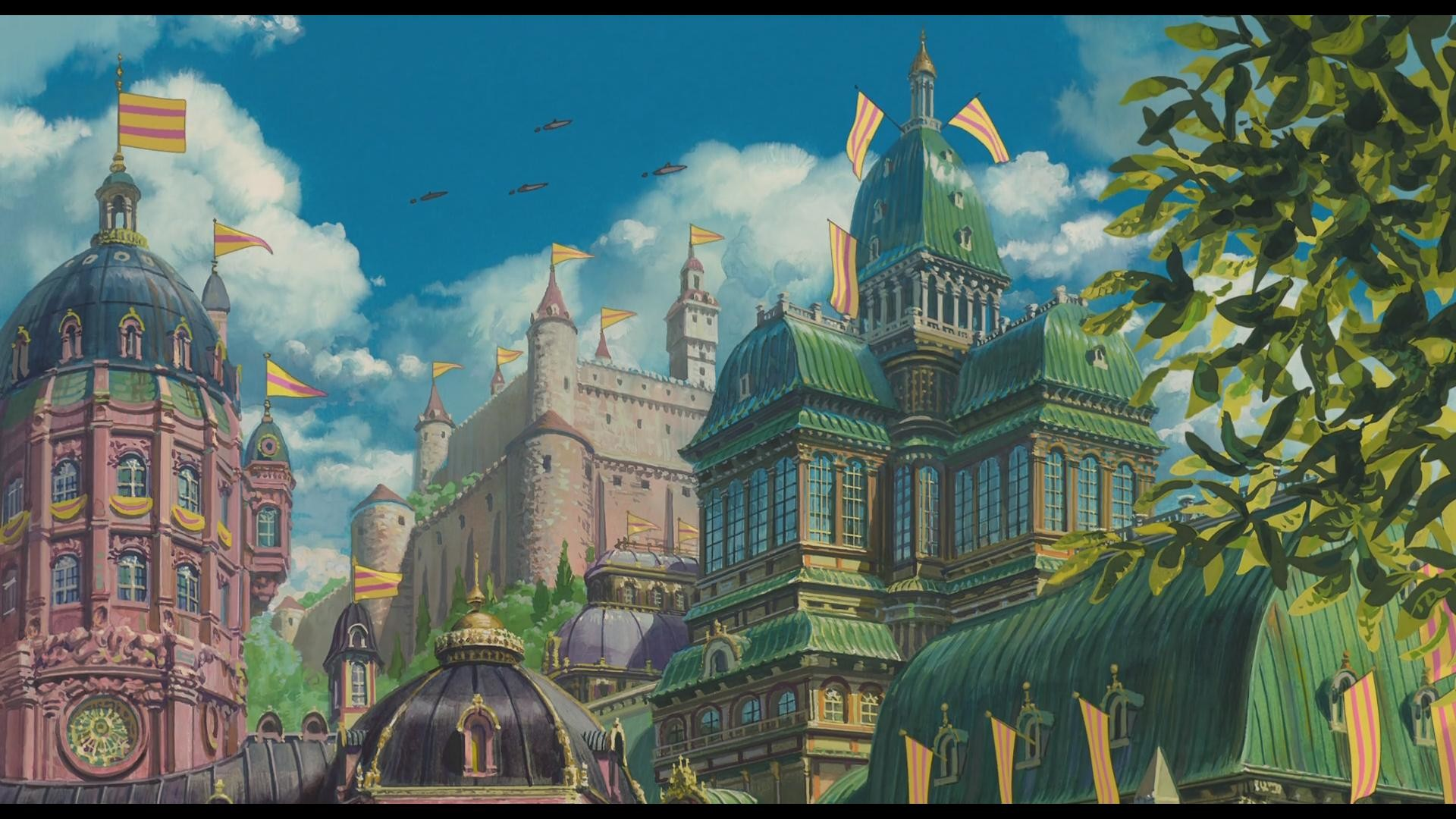 I was so impressed by the animation in Howl's Moving Castle that I've been  screenshotting a few of the more memorable scenes to use as wallpapers.
