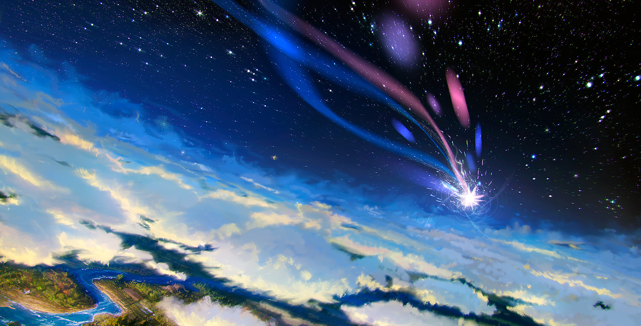 Movie – Howl's Moving Castle Sky Stars Cloud Landscape Shooting Star  Wallpaper