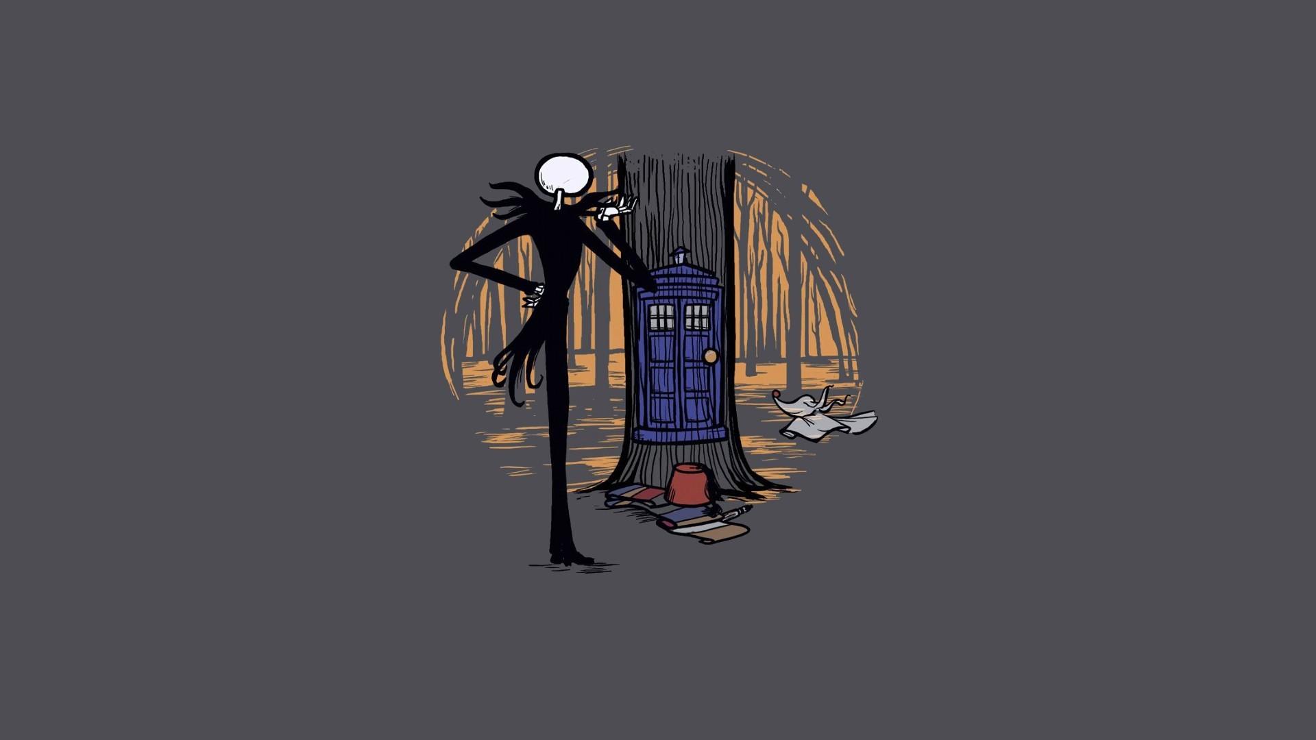 wallpaper minimalistic · TARDIS · The Nightmare Before Christmas