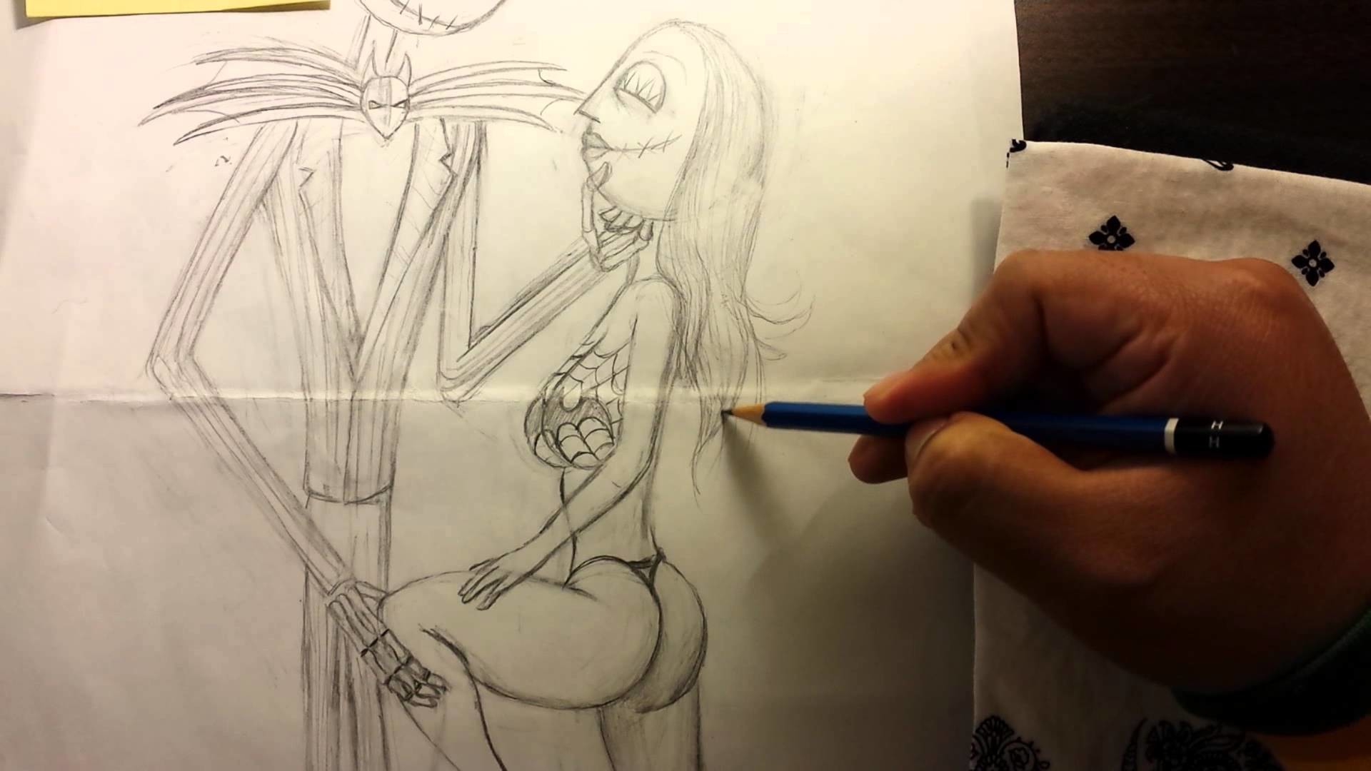 Sketching a sexy Jack Skellington and Sally