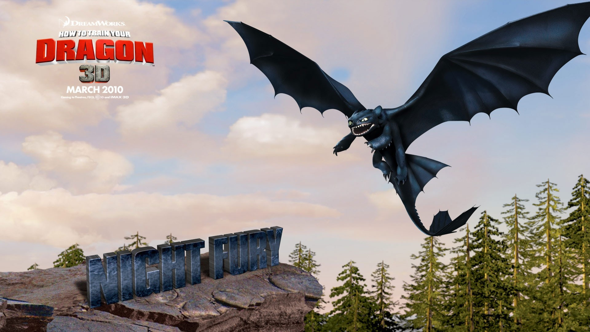 Preview wallpaper how to train your dragon, toothless, flight 1920×1080