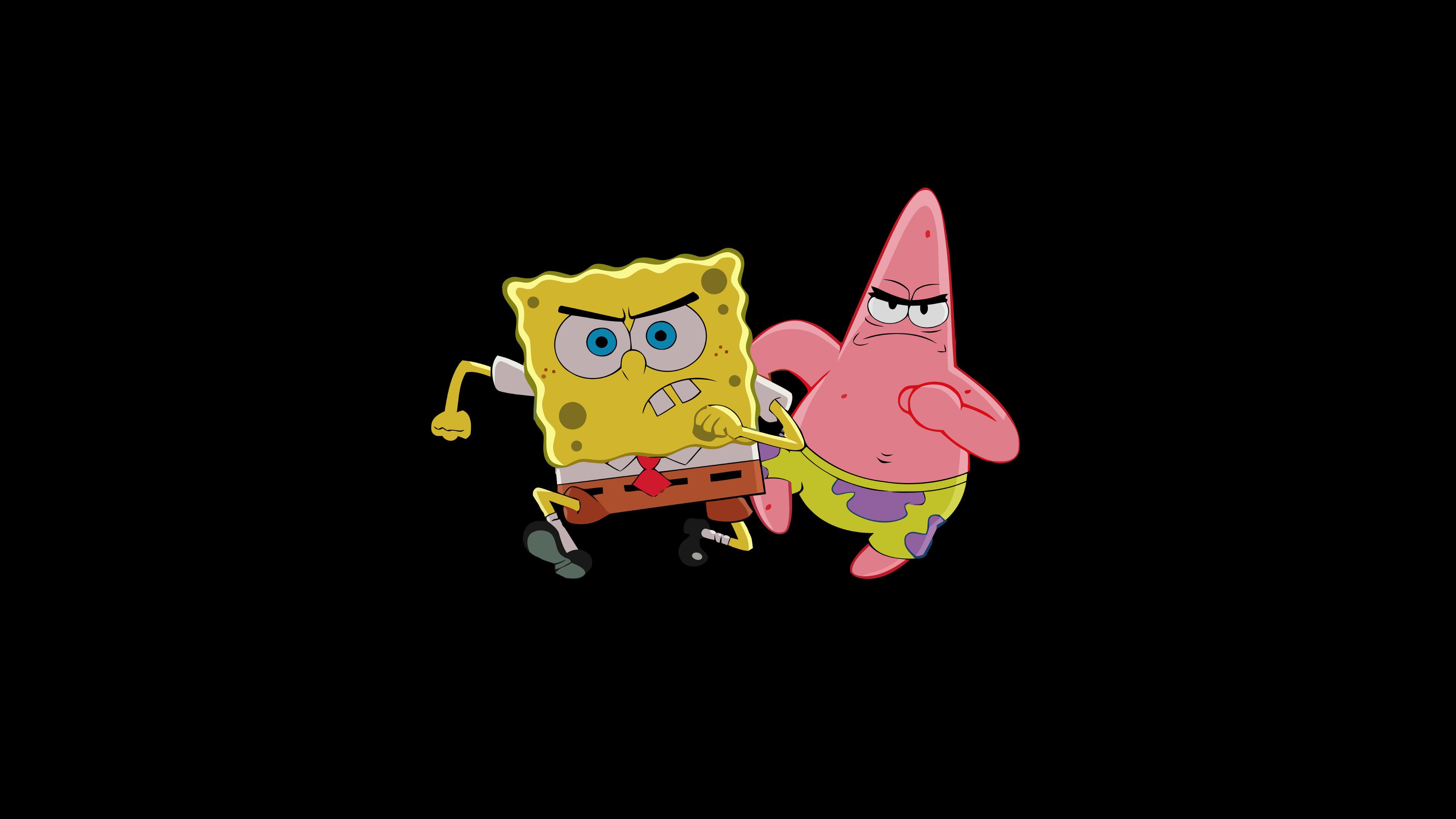 General simple simple background black background SpongeBob  SquarePants Patrick Star