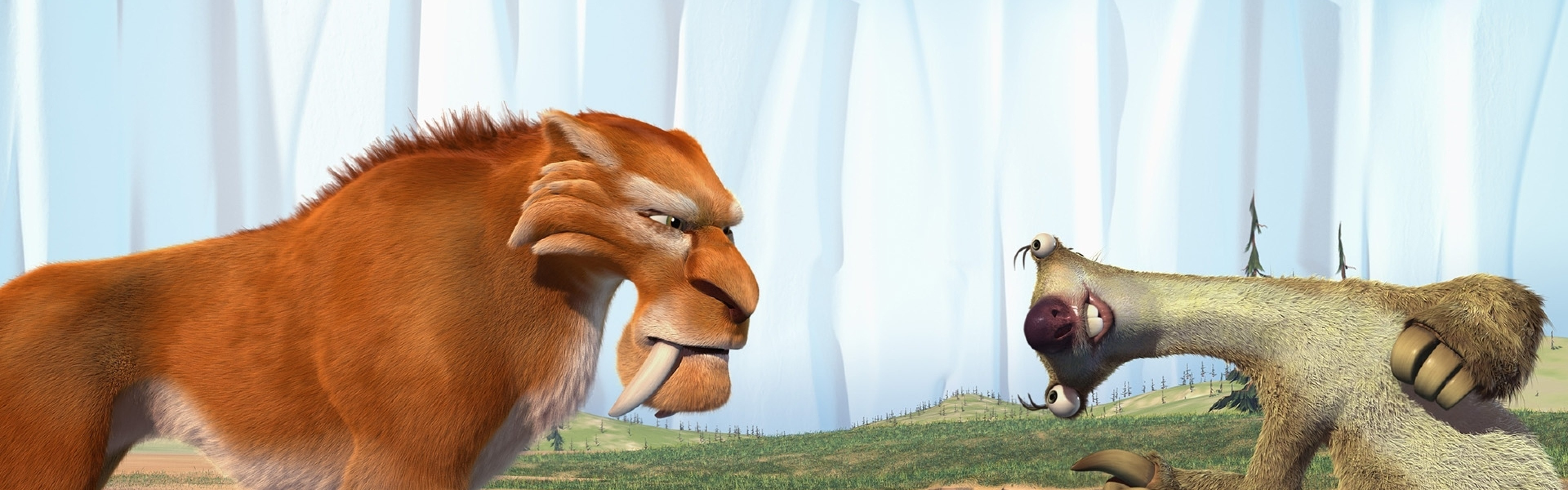 Wallpaper ice age, diego, sid, saber-toothed tiger, sloth