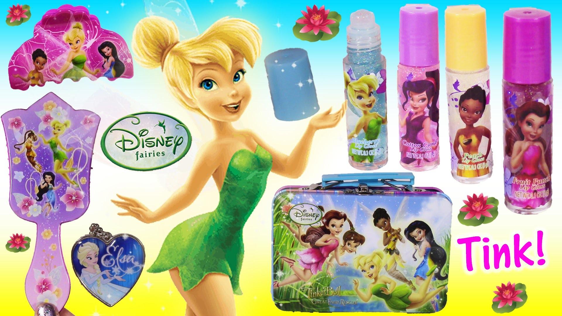 Disney Fairies Tinkerbell Hair Set! Brush Fairy Hair Extensions Clips! LIP  GLOSS! FROZEN Elsa! FUN – YouTube