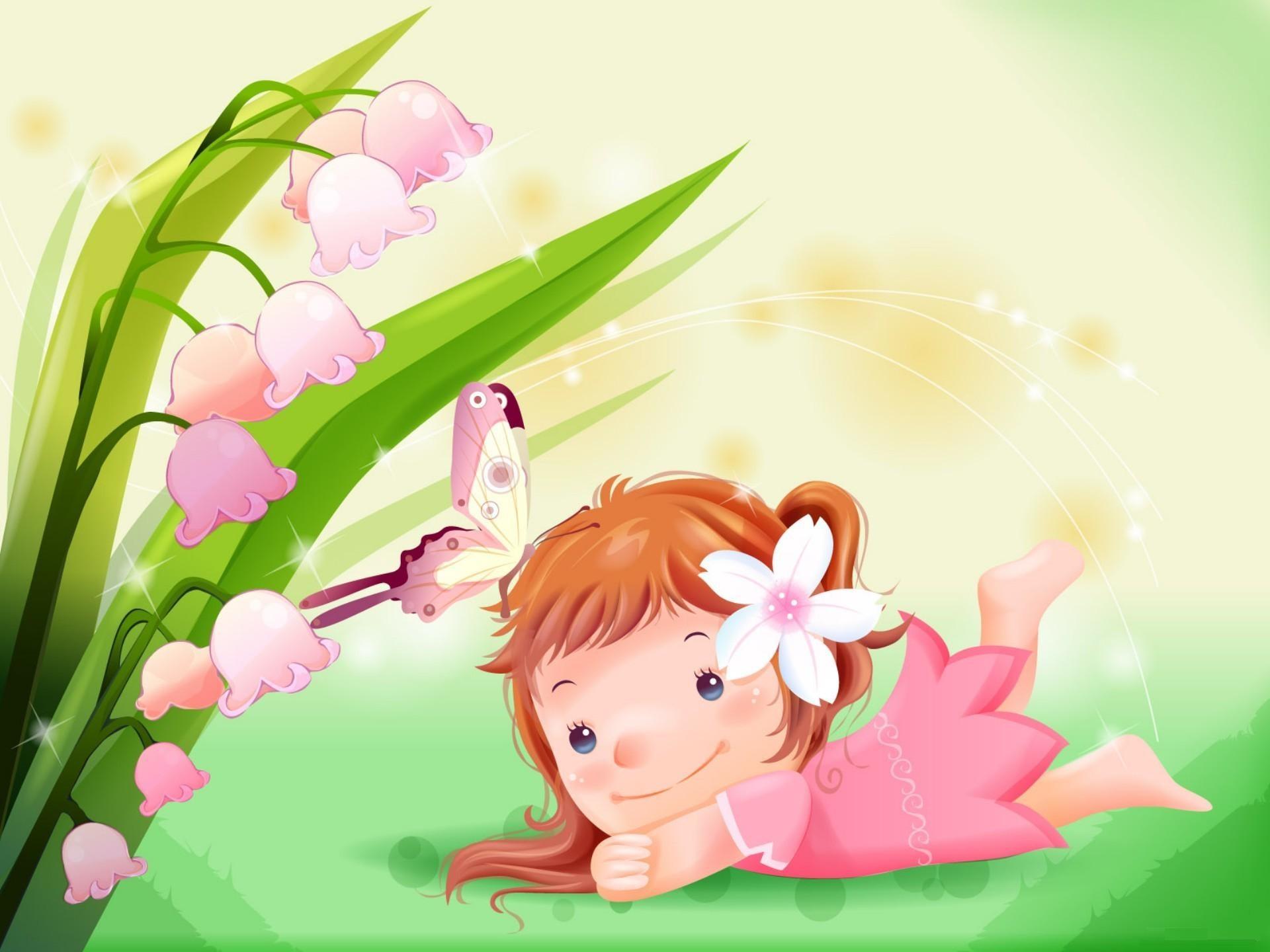 Cute Cartoon Girl with Flower HD Wallpaper Desktop Backgrounds Free