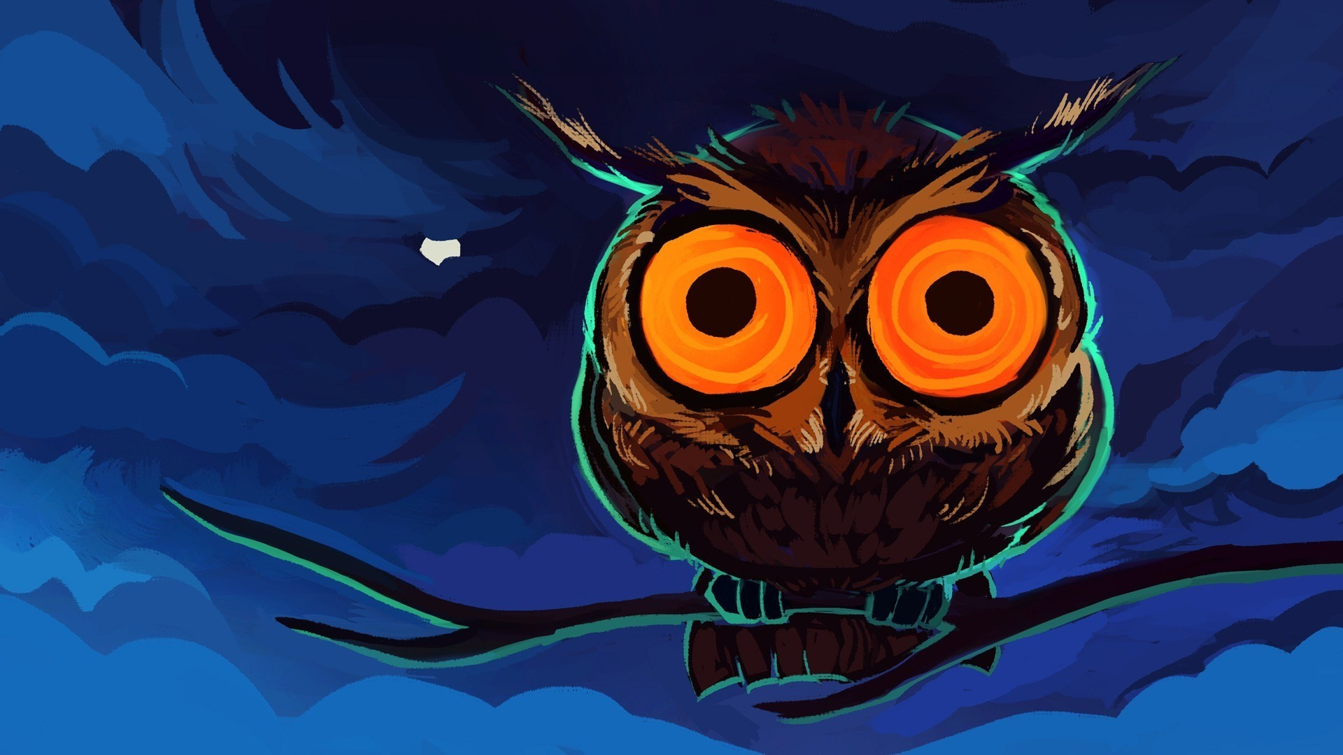 Halloween Wallpaper Painted owl with round eyes