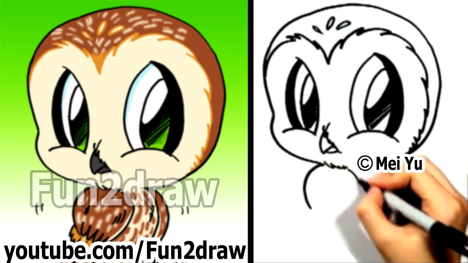 How to Draw a Cartoon Owl – How to Draw Birds Easy – Fun2draw Animal  drawings – YouTube