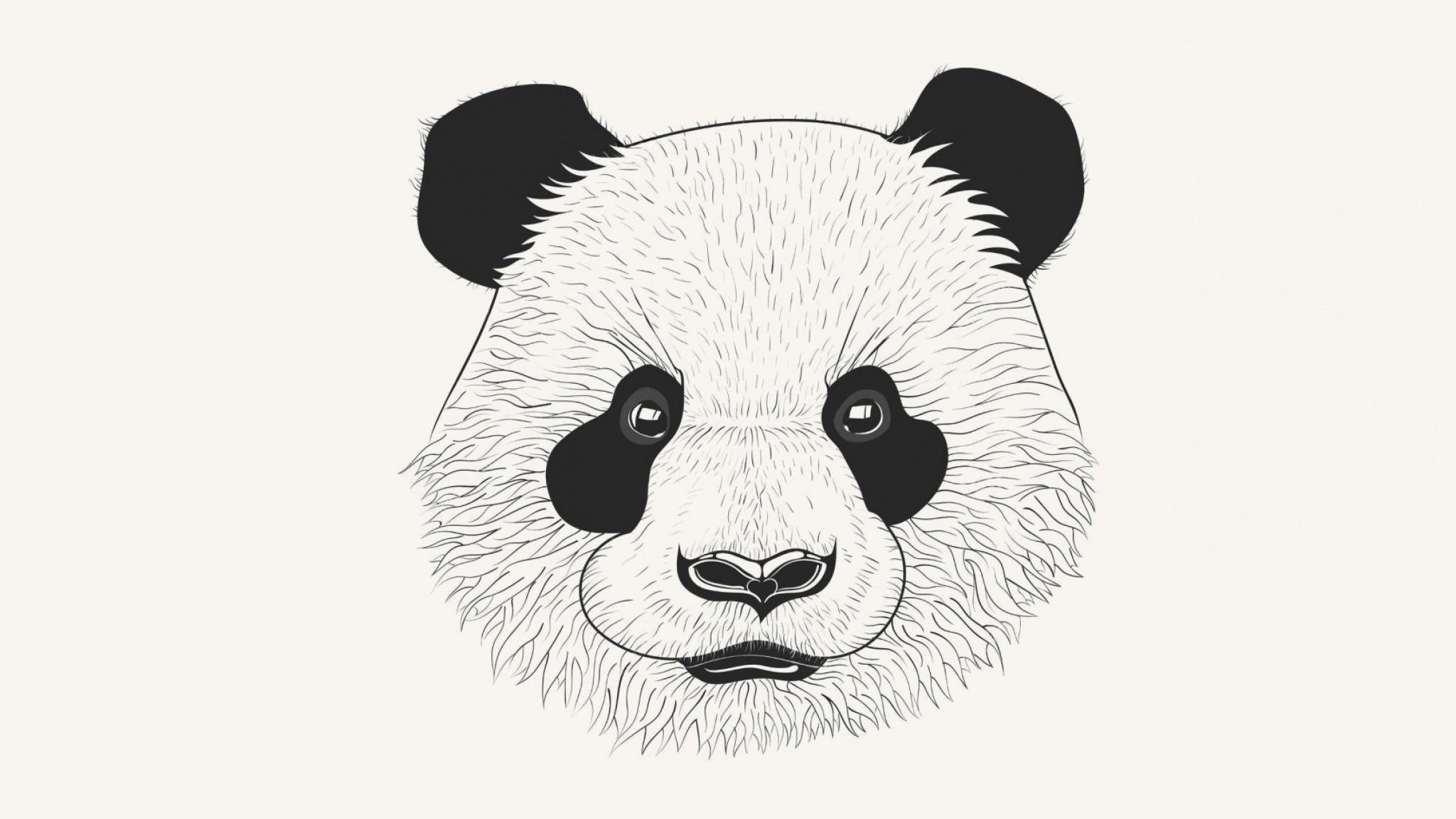 Preview wallpaper panda, art, muzzle 2048×1152