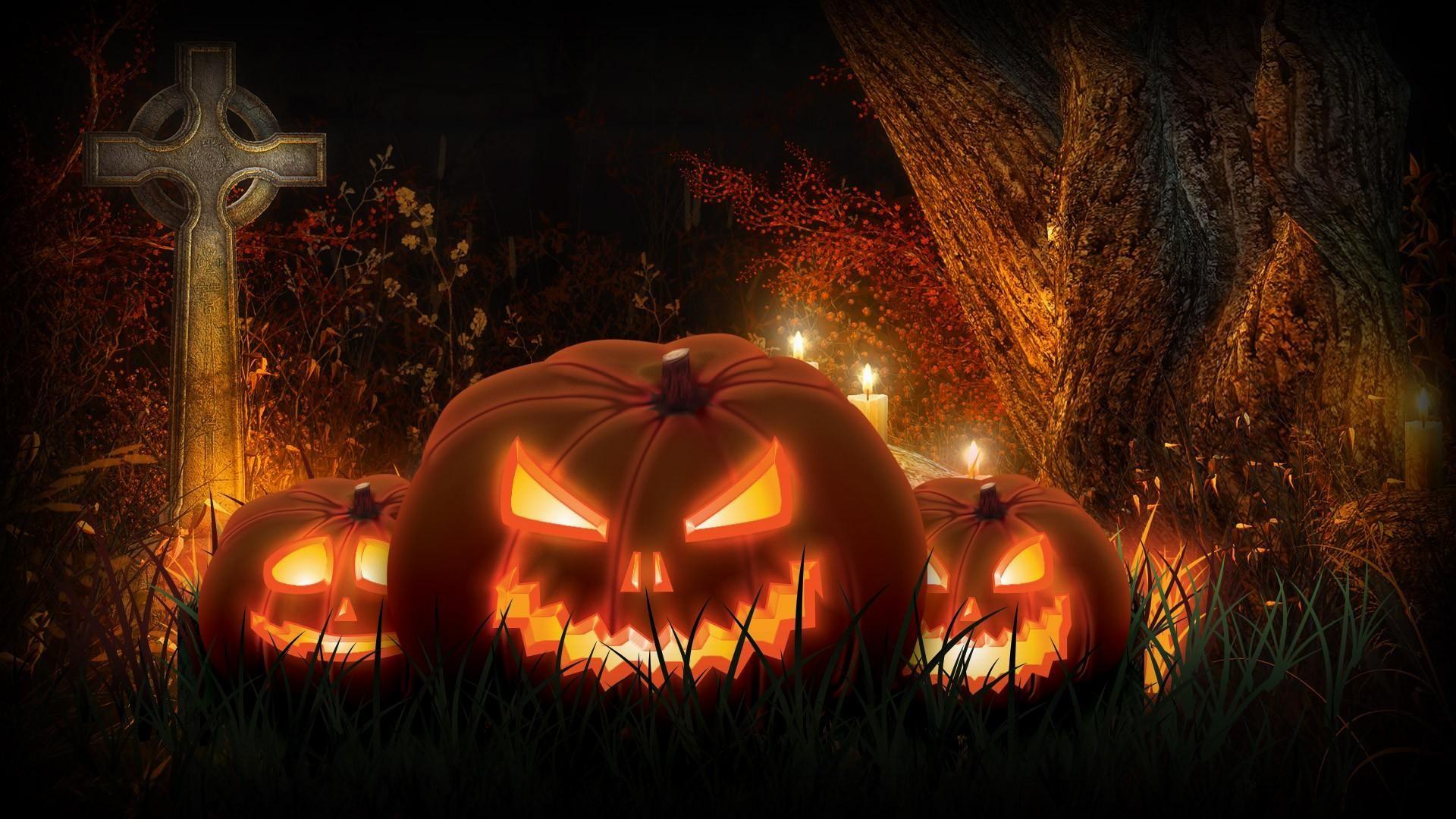 Halloween-scary-Jacck-skellington-spooky-cemetery-pumpkins