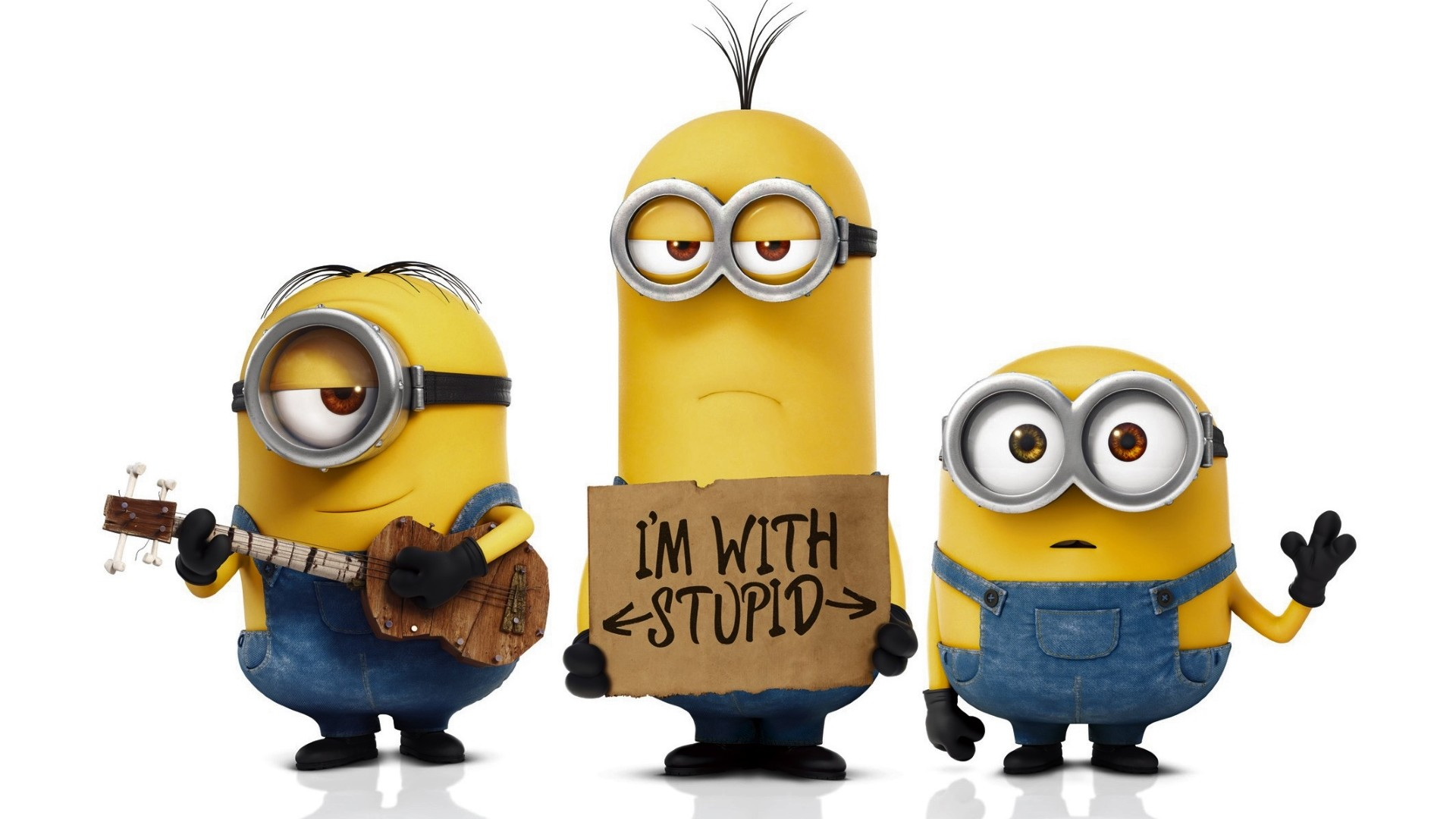 3 funny Minions desktop background: