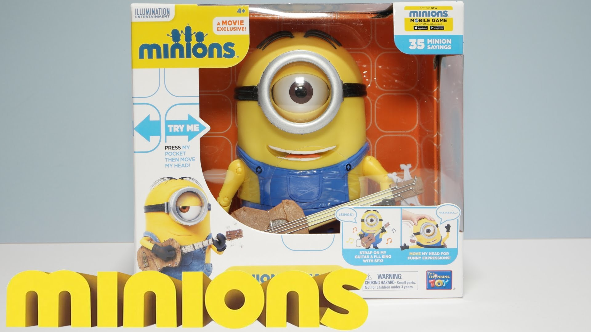 "MINION STUART – 8"" GUITAR PLAYING ACTION FIGURE POSEABLE – New 2015 Minions  Movie Exclusive Toys – YouTube"