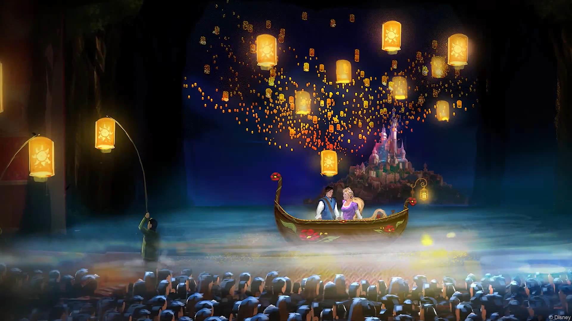 DCL Tangled Musical Set Theatre Lake Floating Lanterns Mockup