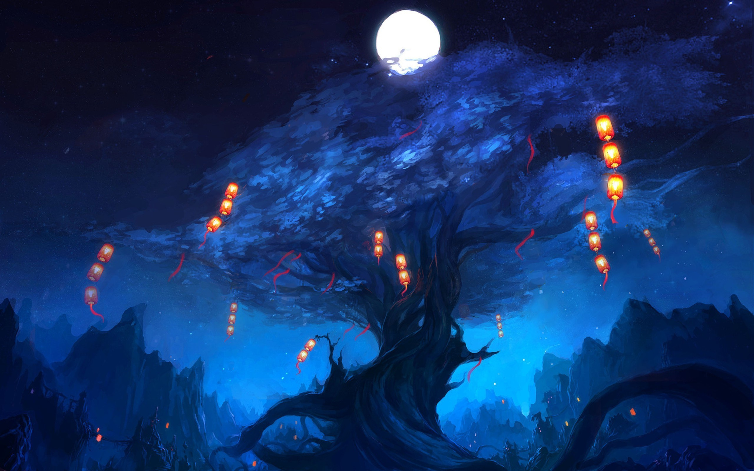 … Lanterns floating around the tree