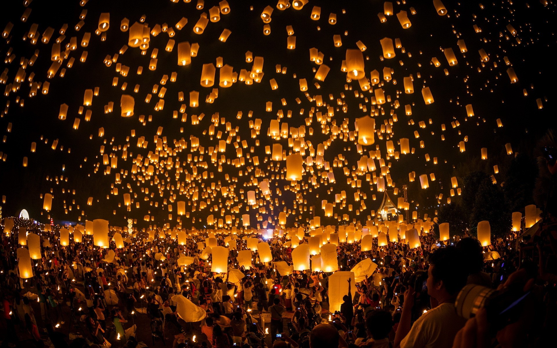 sky Lanterns, Floating, Night, Glowing Wallpapers HD / Desktop and .