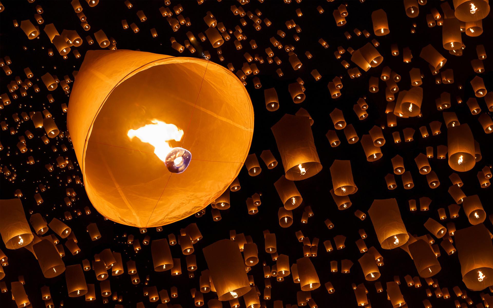 fire sky lanterns night bokeh wallpaper
