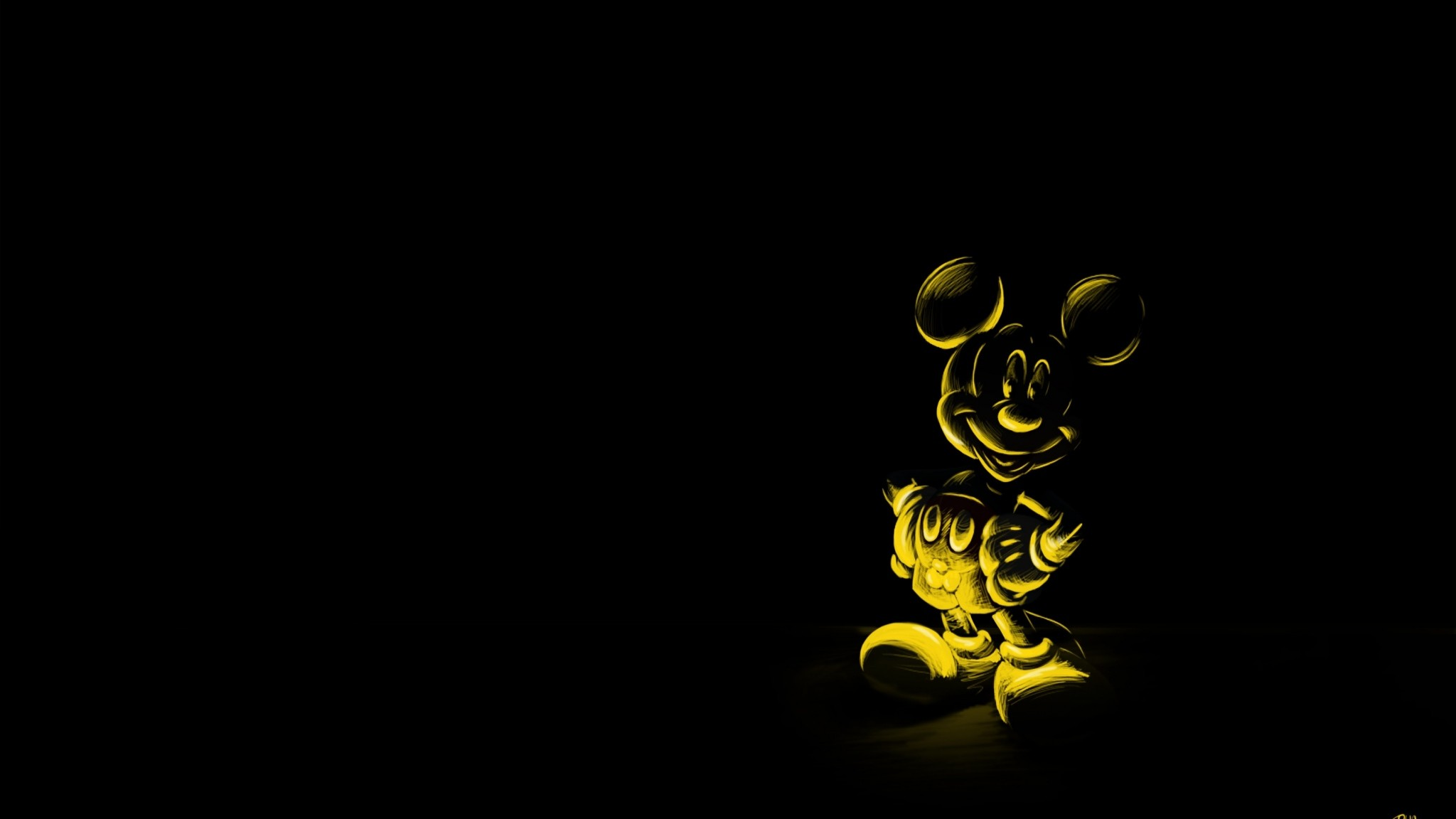 Preview wallpaper cartoon, black background, character, mickey mouse, mouse  2048×1152