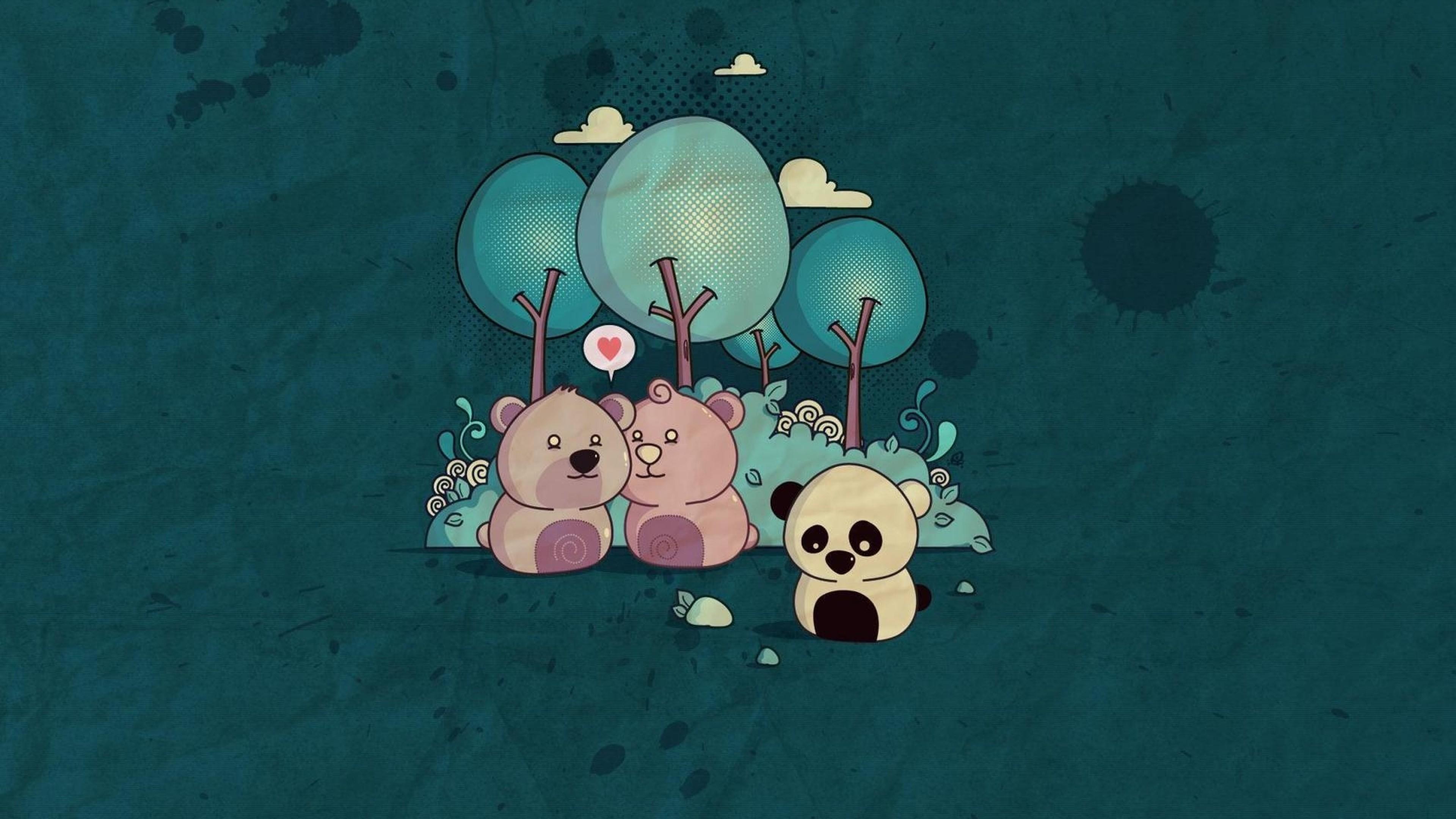 Wallpaper panda, bear, wood, paper