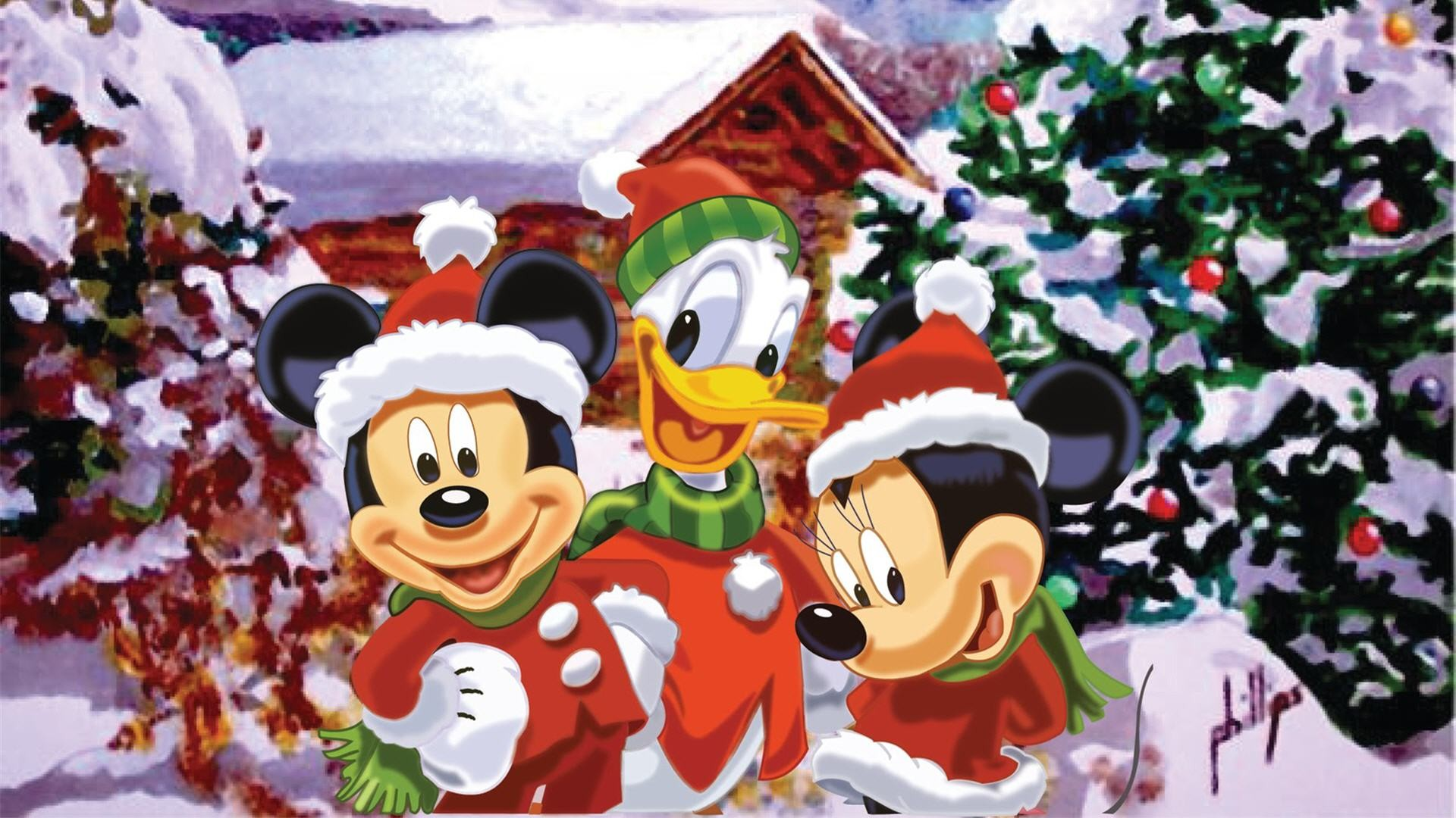 Mickey Mouse Characters Christmas Wallpaper.