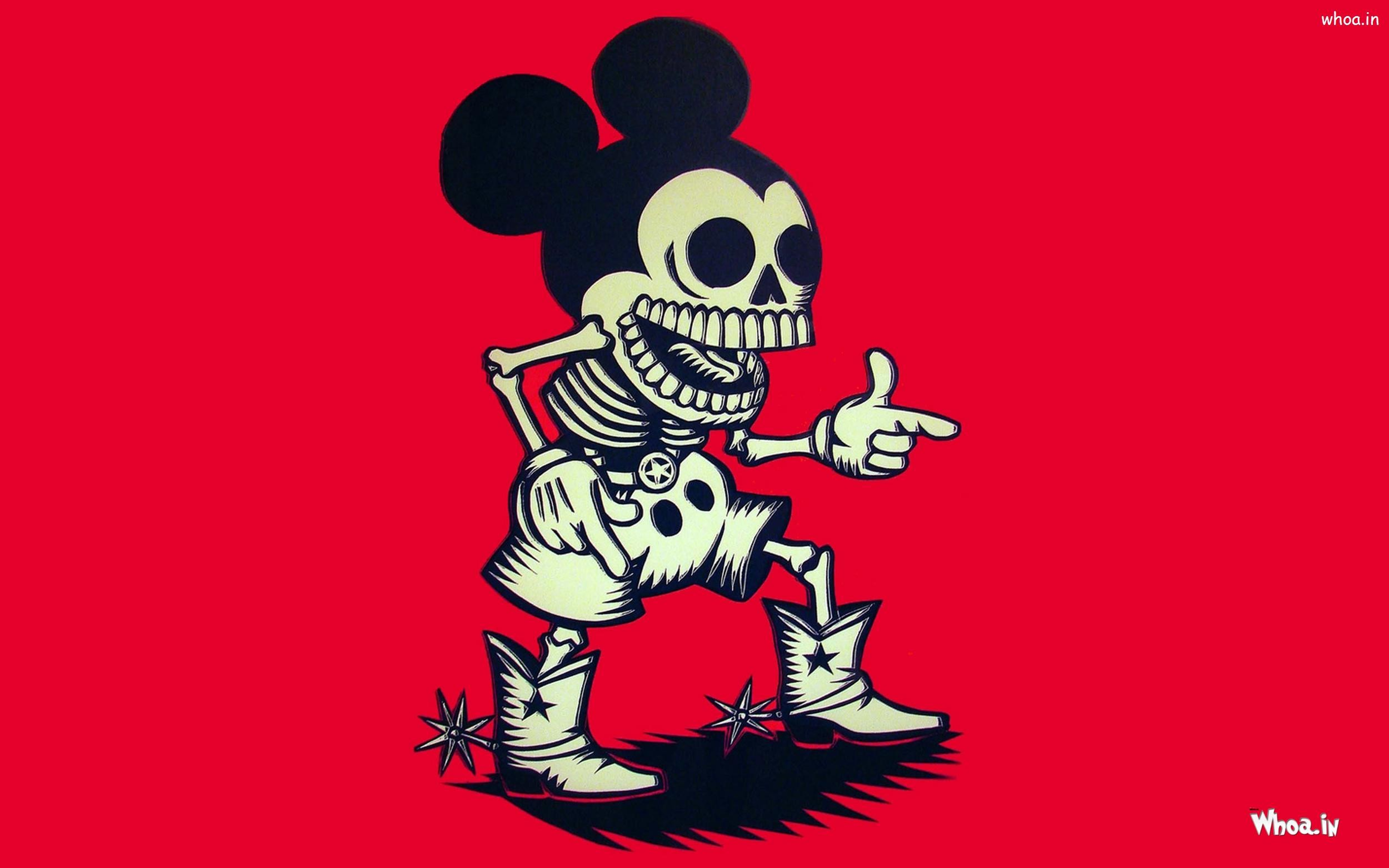 … Mickey Mouse Skull with Red Background Wallpaper …
