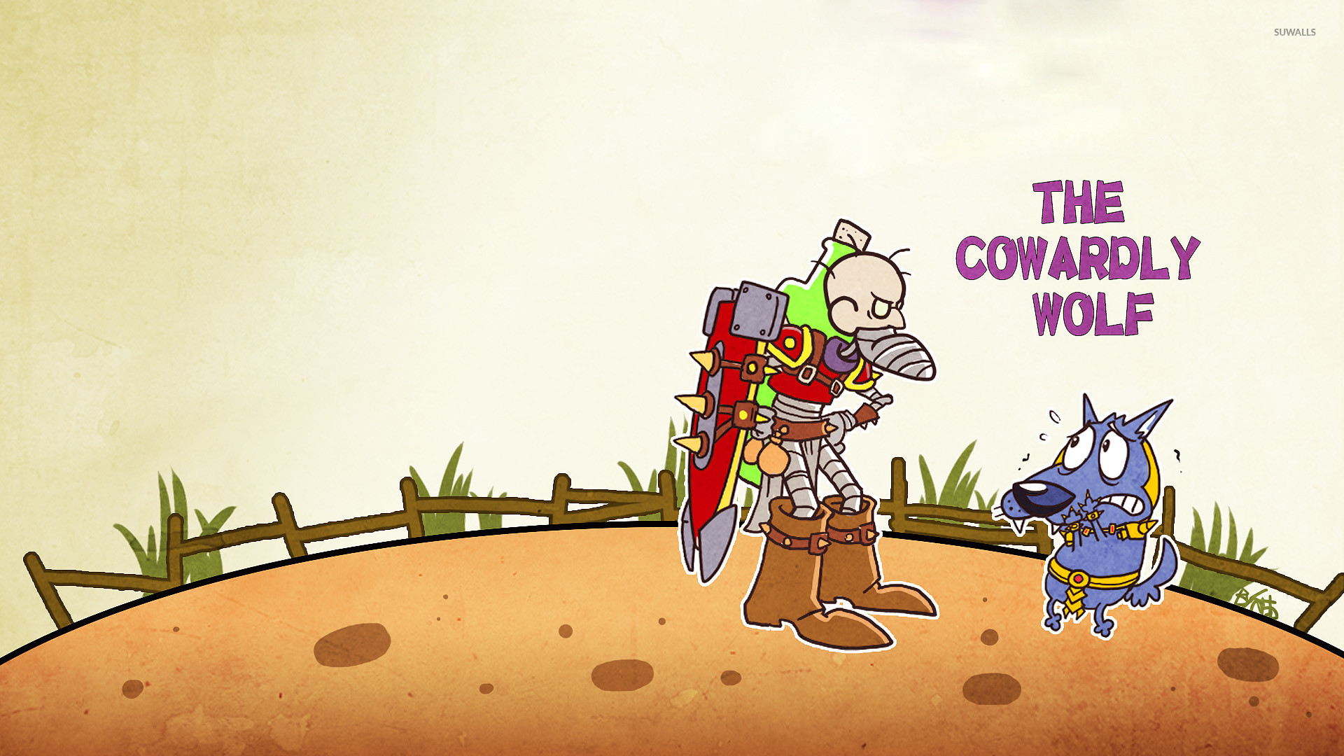 Courage and Eustace from Courage the Cowardly Wolf wallpaper