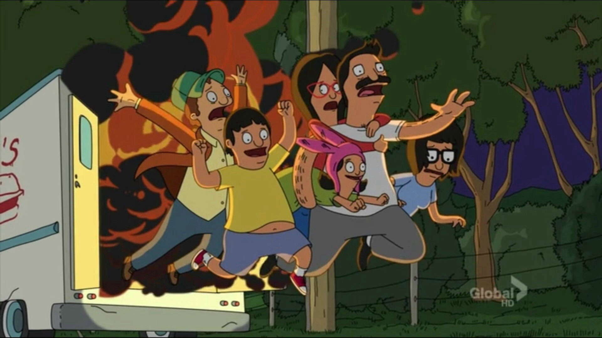 """""""Bob's Burgers Food Truck meets an untimely & fiery end."""