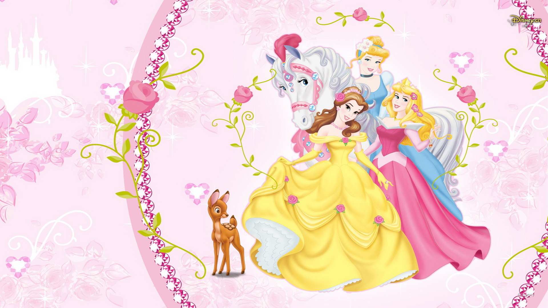 Beautiful Disney Princess Aurora, Belle and Cinderella Wallpaper