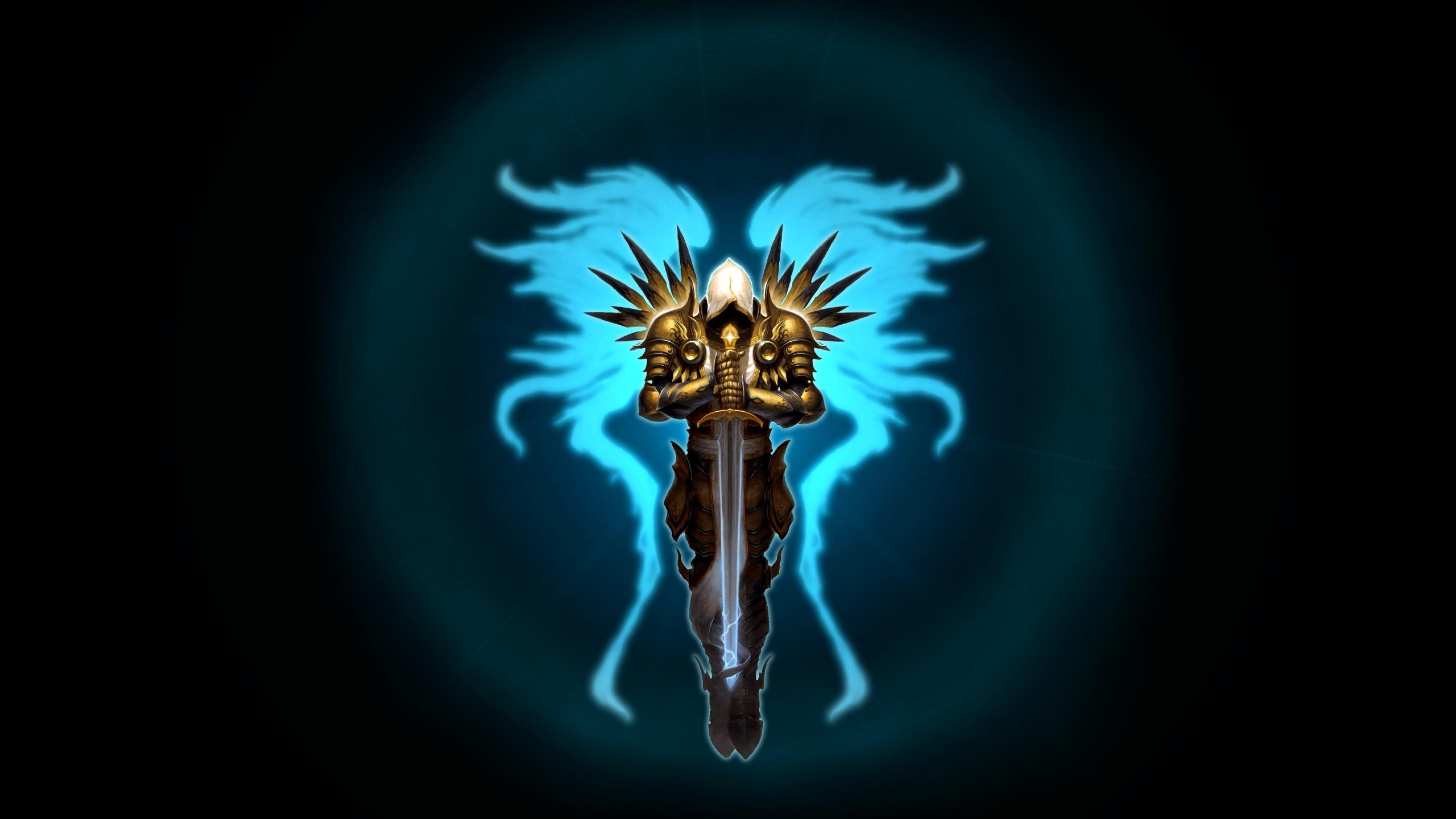 Preview wallpaper diablo 3, tyrael, wings, sword, game 3840×2160