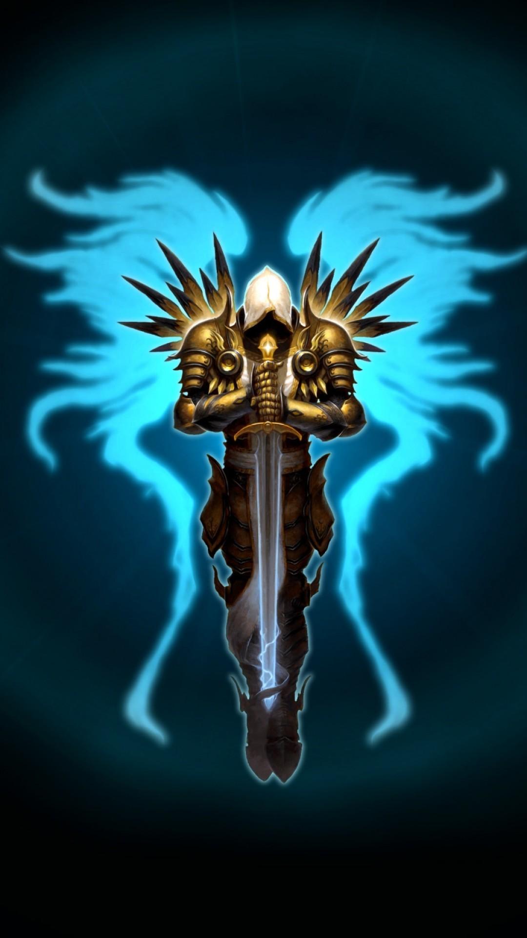 Preview wallpaper diablo 3, tyrael, wings, sword, game 1080×1920