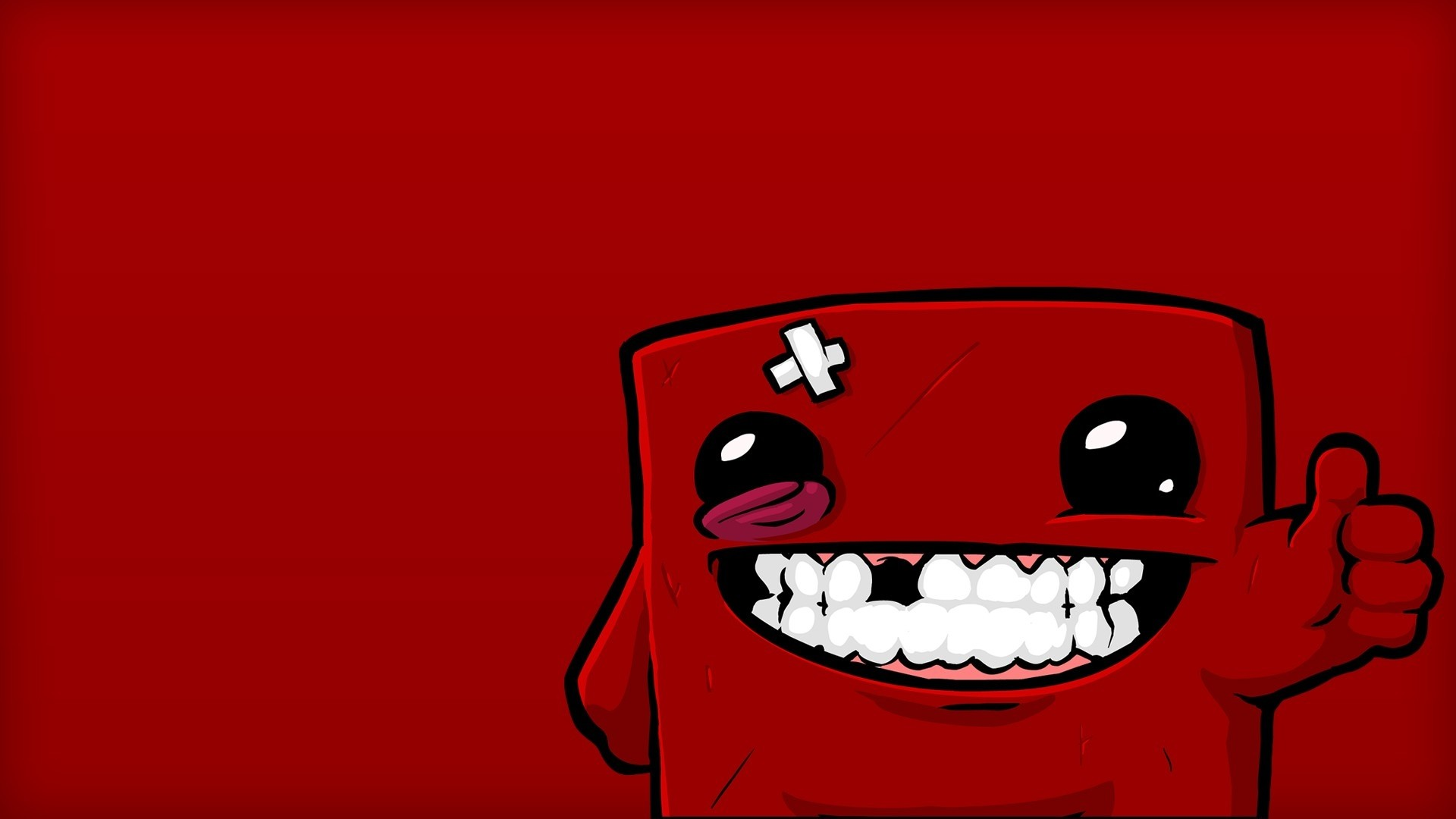 Preview wallpaper super meat boy, character, smile, eyes 1920×1080