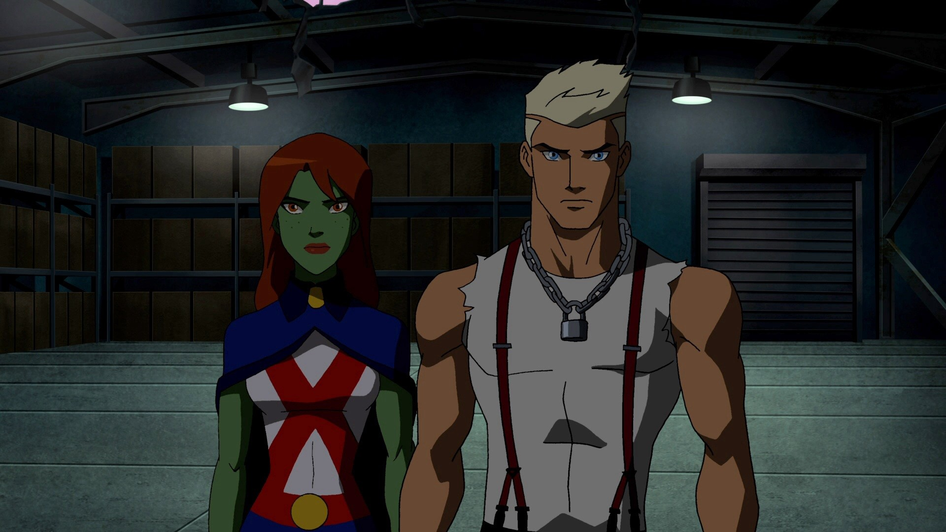 Miss Martian and Superboy getting ready to infiltrate Belle Reve