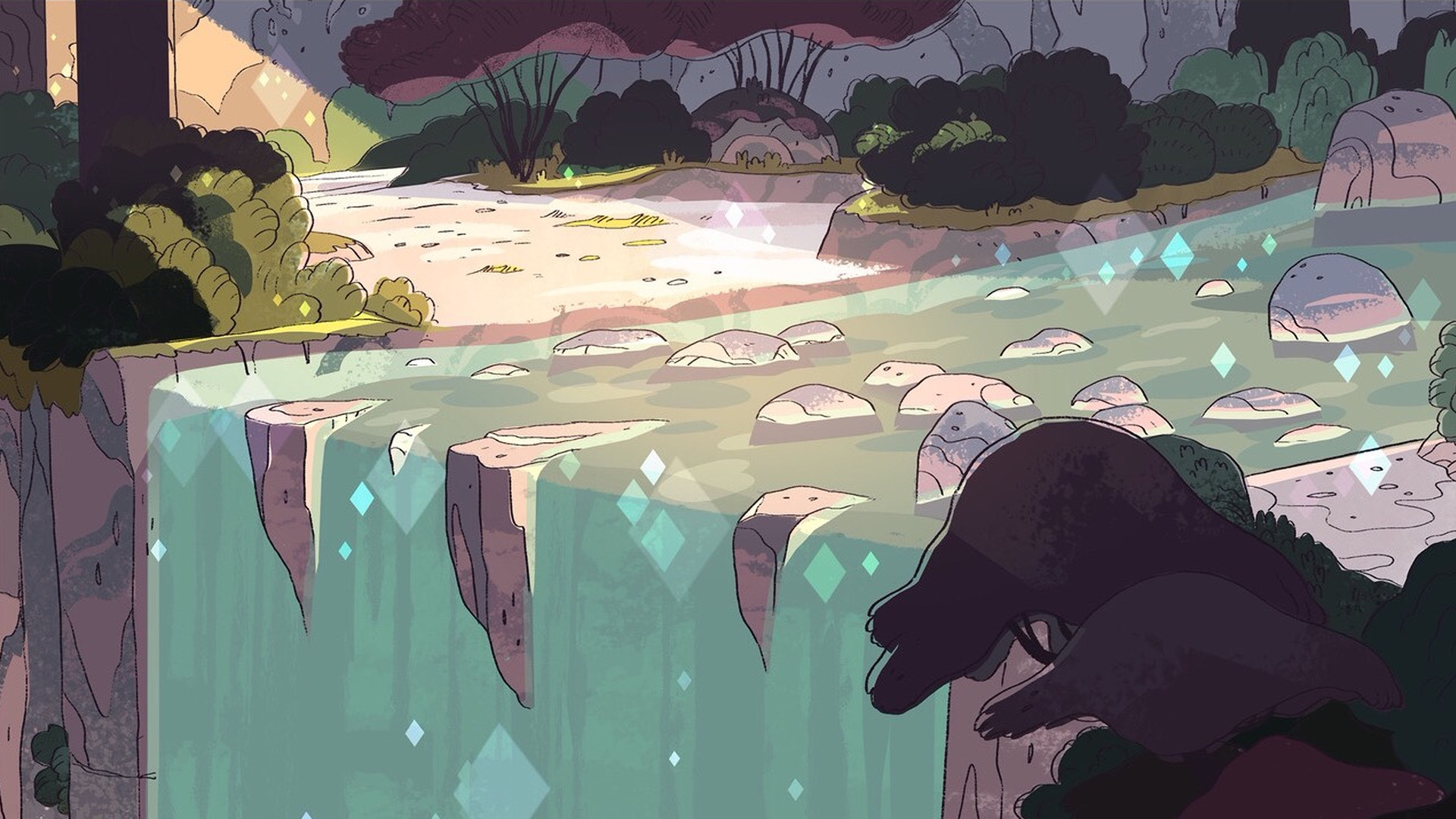 artwork, Waterfall, Steven Universe Wallpaper