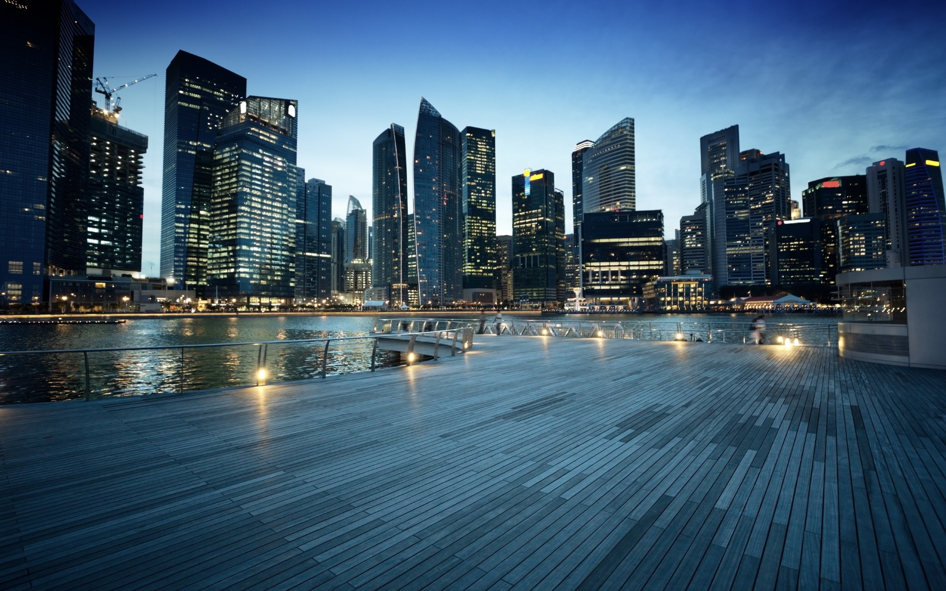 Singapore in the evening wallpaper