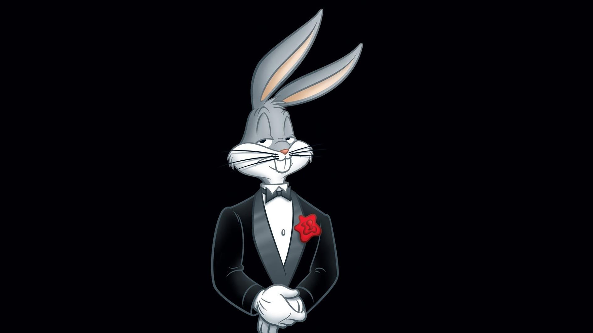 Preview wallpaper looney tunes, bugs bunny, rabbit, tuxedo, flower 1920×1080