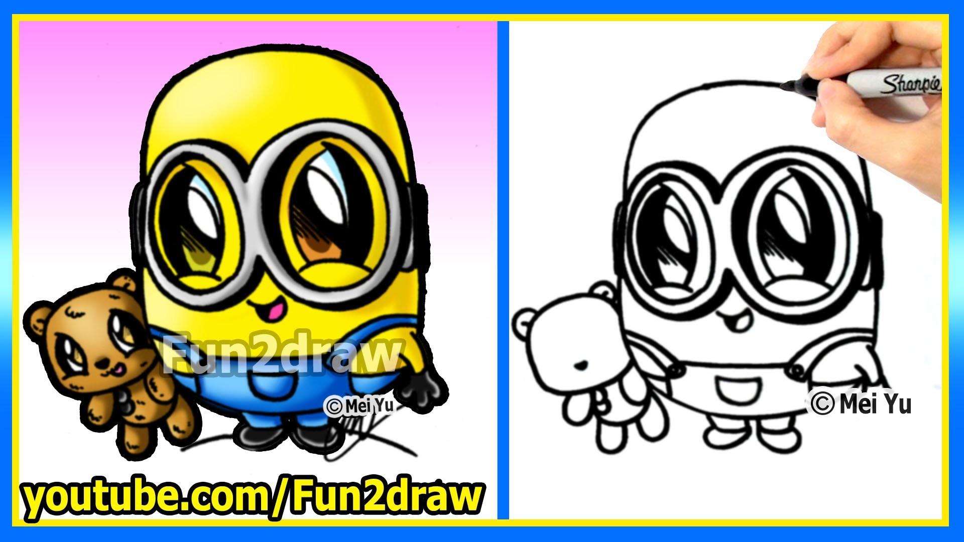 How to Draw a Minion – Bob and Teddy Bear – The Minions Movie – learn