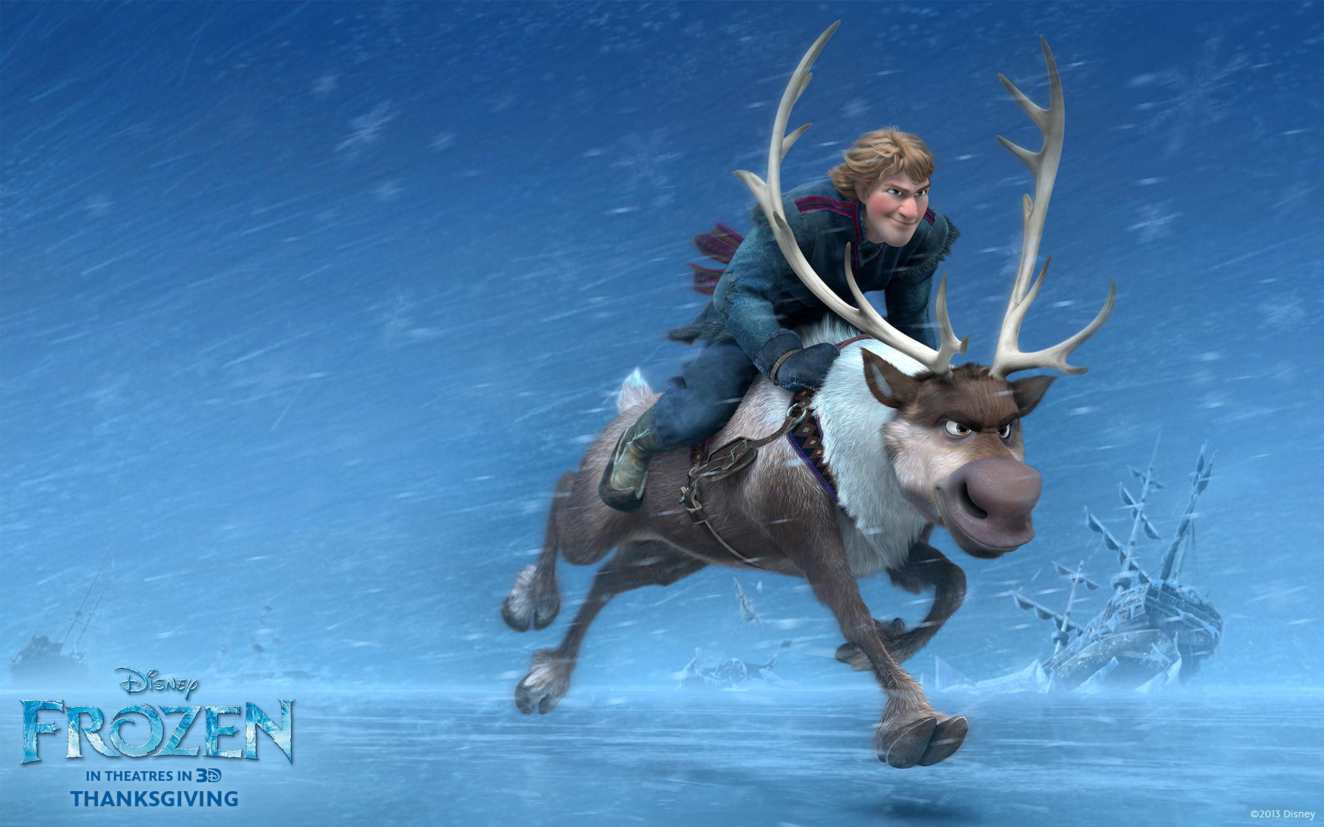 Kristoff and Sven the reindeer from Disney movie Frozen wallpaper