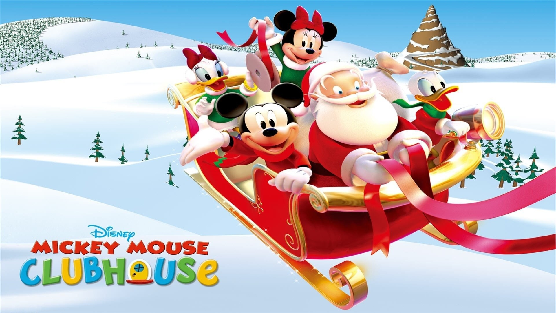 Holiday – Christmas Daisy Duck Minnie Mouse Mickey Mouse Santa Donald Duck  Disney Sleigh Wallpaper