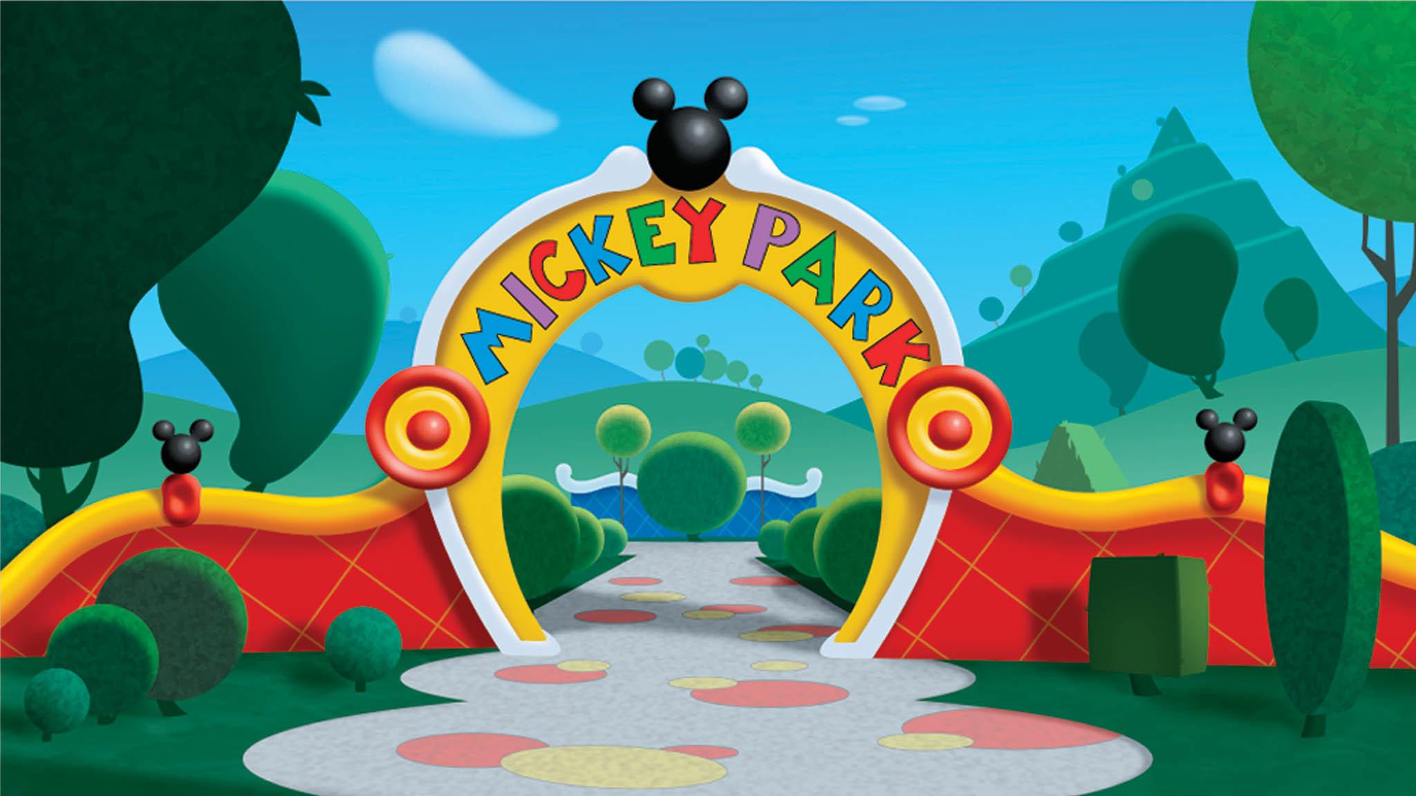 Mickey Mouse Park Cartoon HD Wallpaper.