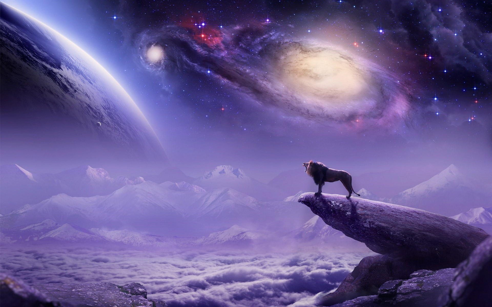 Lion Planet Mountains Art Fantasy