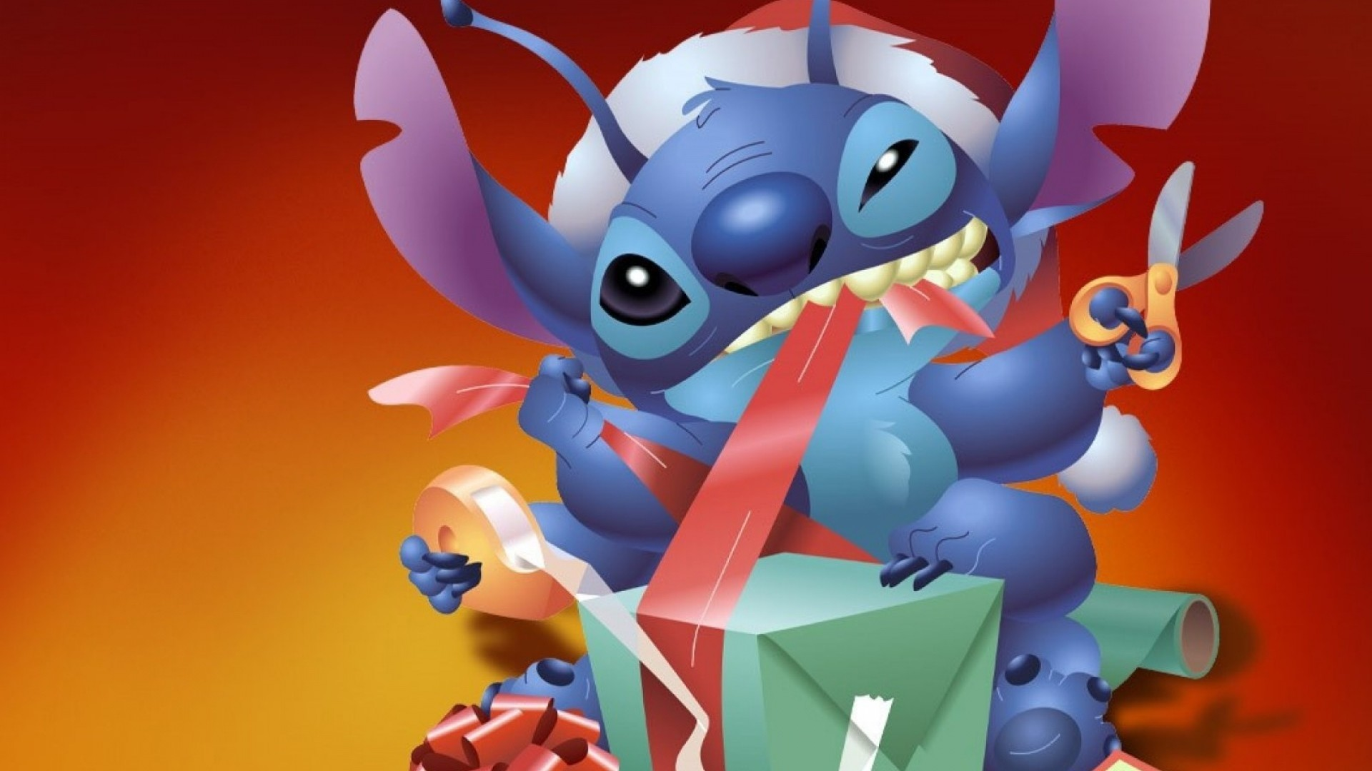 Wallpaper new year, christmas, gift, stich