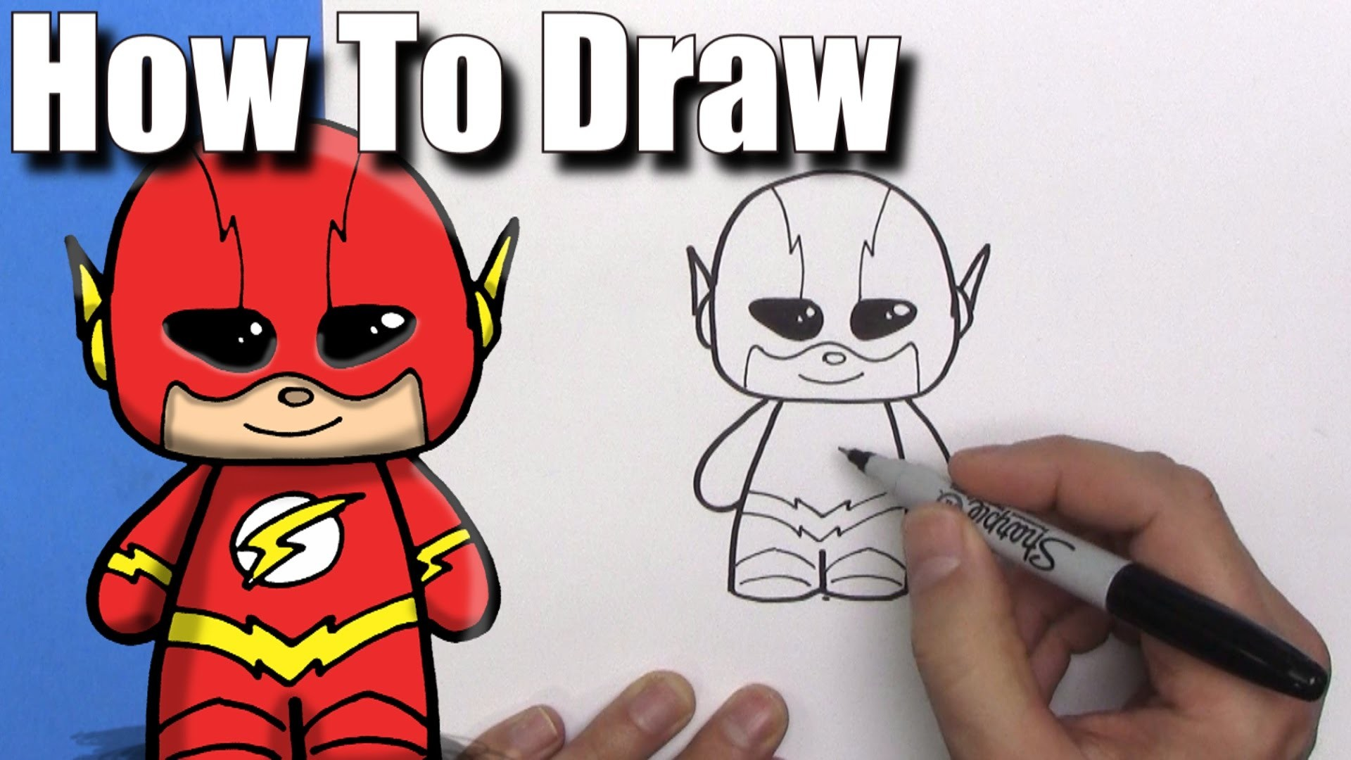 How To Draw a Cute Cartoon The Flash – EASY Chibi – Step By Step – Kawaii –  YouTube