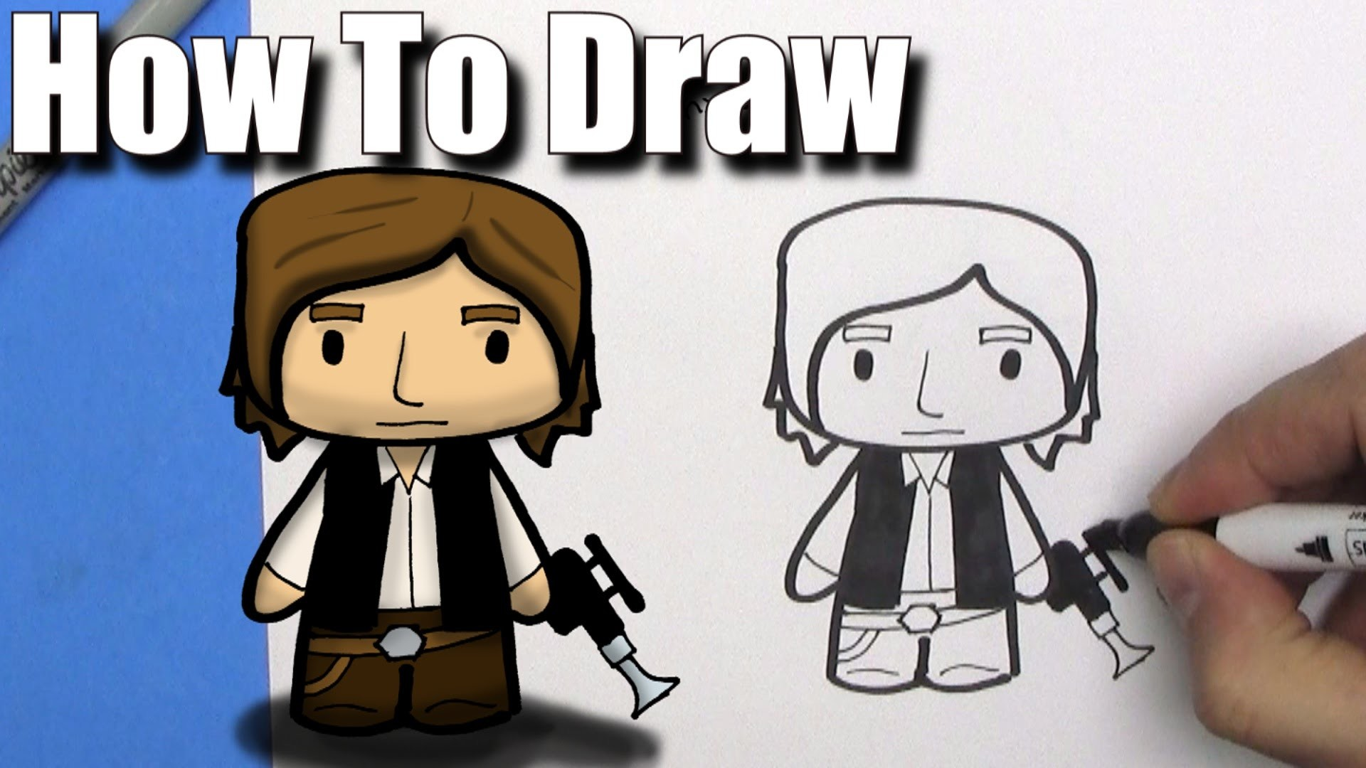 How To Draw a Cute Cartoon Han Solo – EASY Chibi – Step By Step – Kawaii –  YouTube