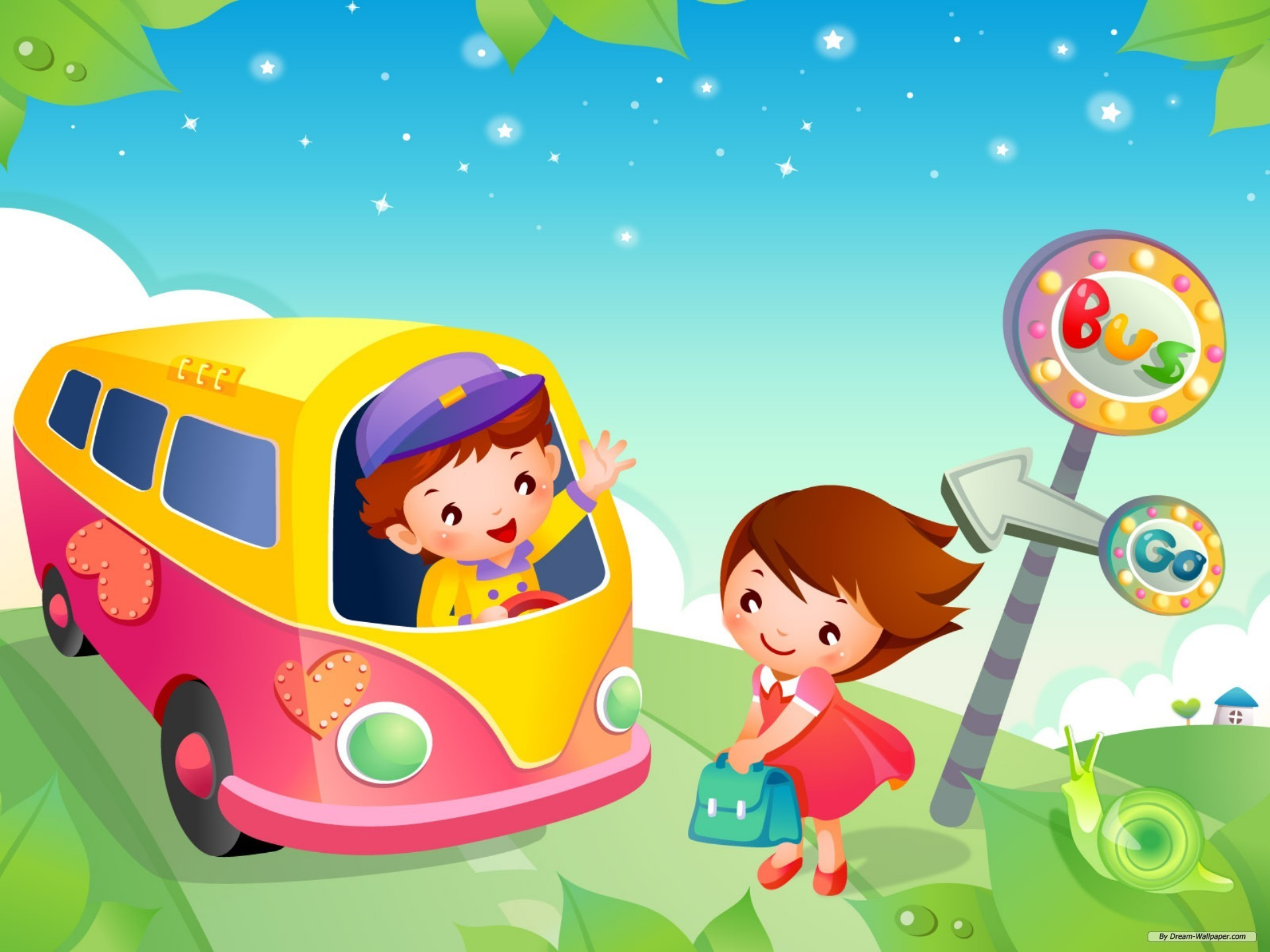 kids school bus cartoon high resolution wallpapers free download