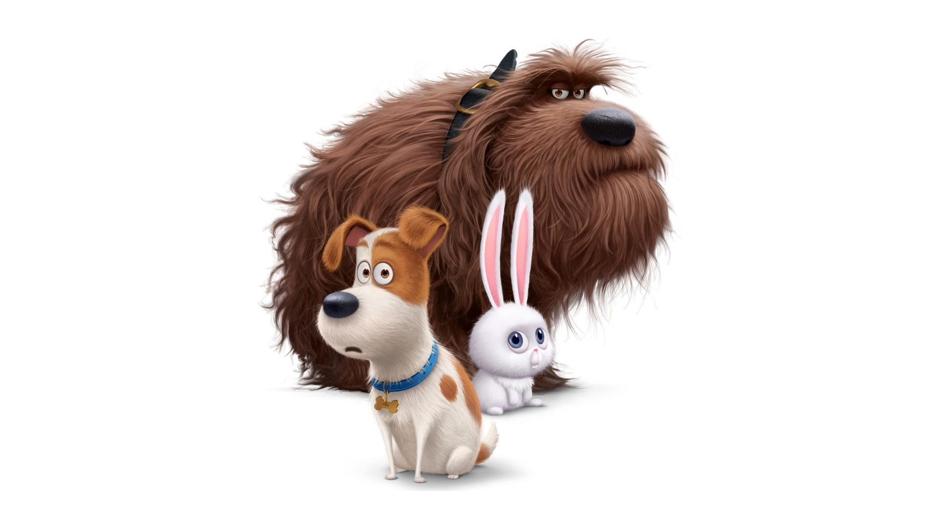 Max, Duke, cartoon characters Snow Secret Life of Pets