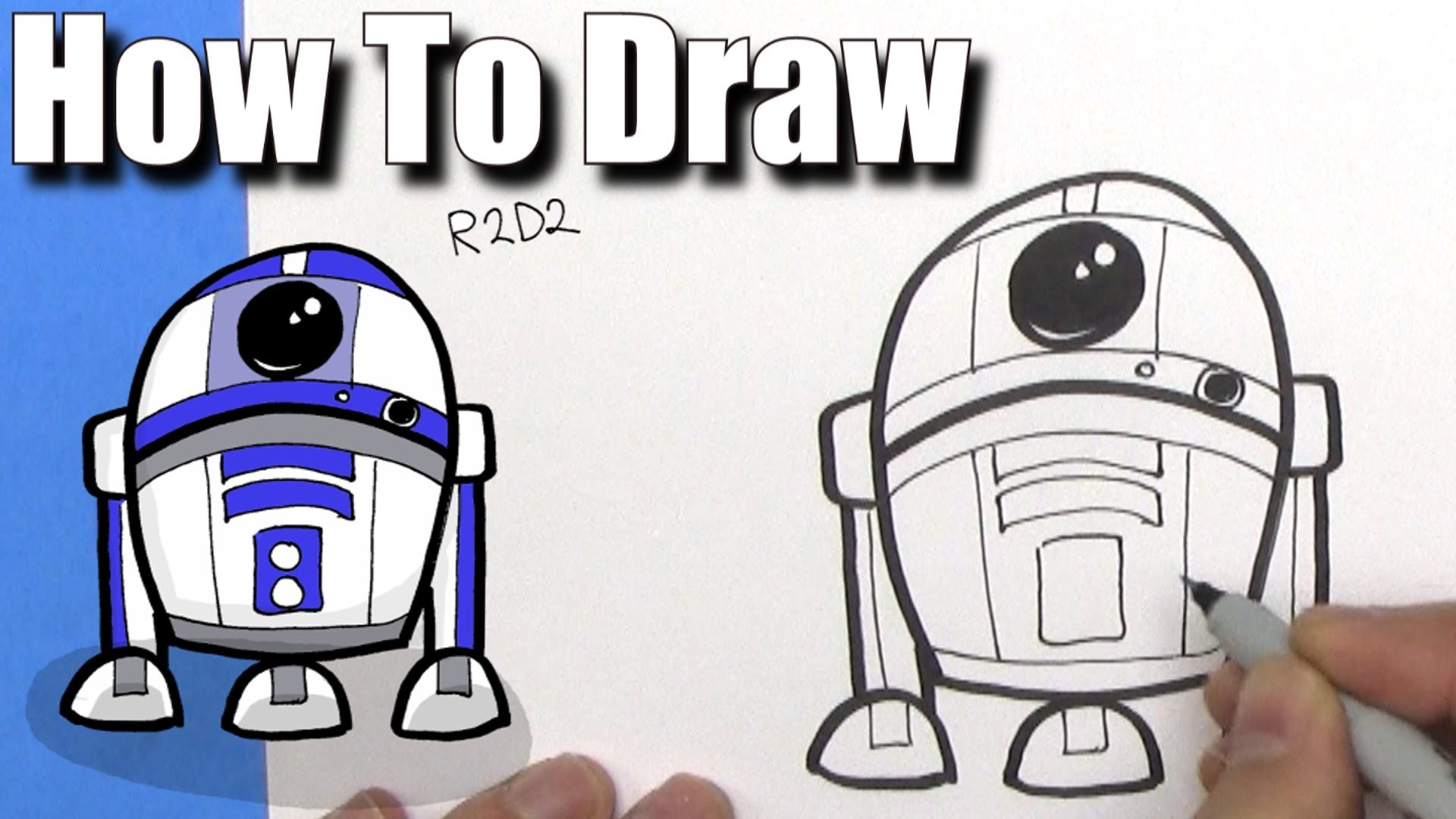 How To Draw Cute Cartoon R2D2 Droid – EASY Chibi – Step By Step – Kawaii –  YouTube