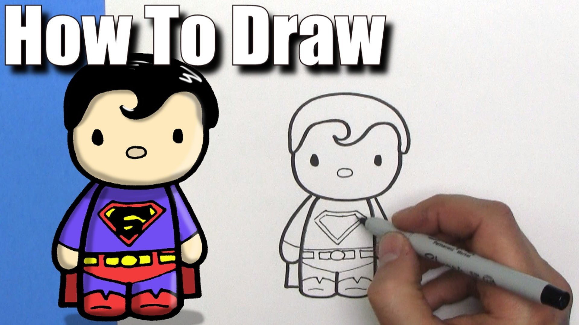 How To Draw a Cute Cartoon Superman – EASY Chibi – Step By Step – Kawaii –  YouTube